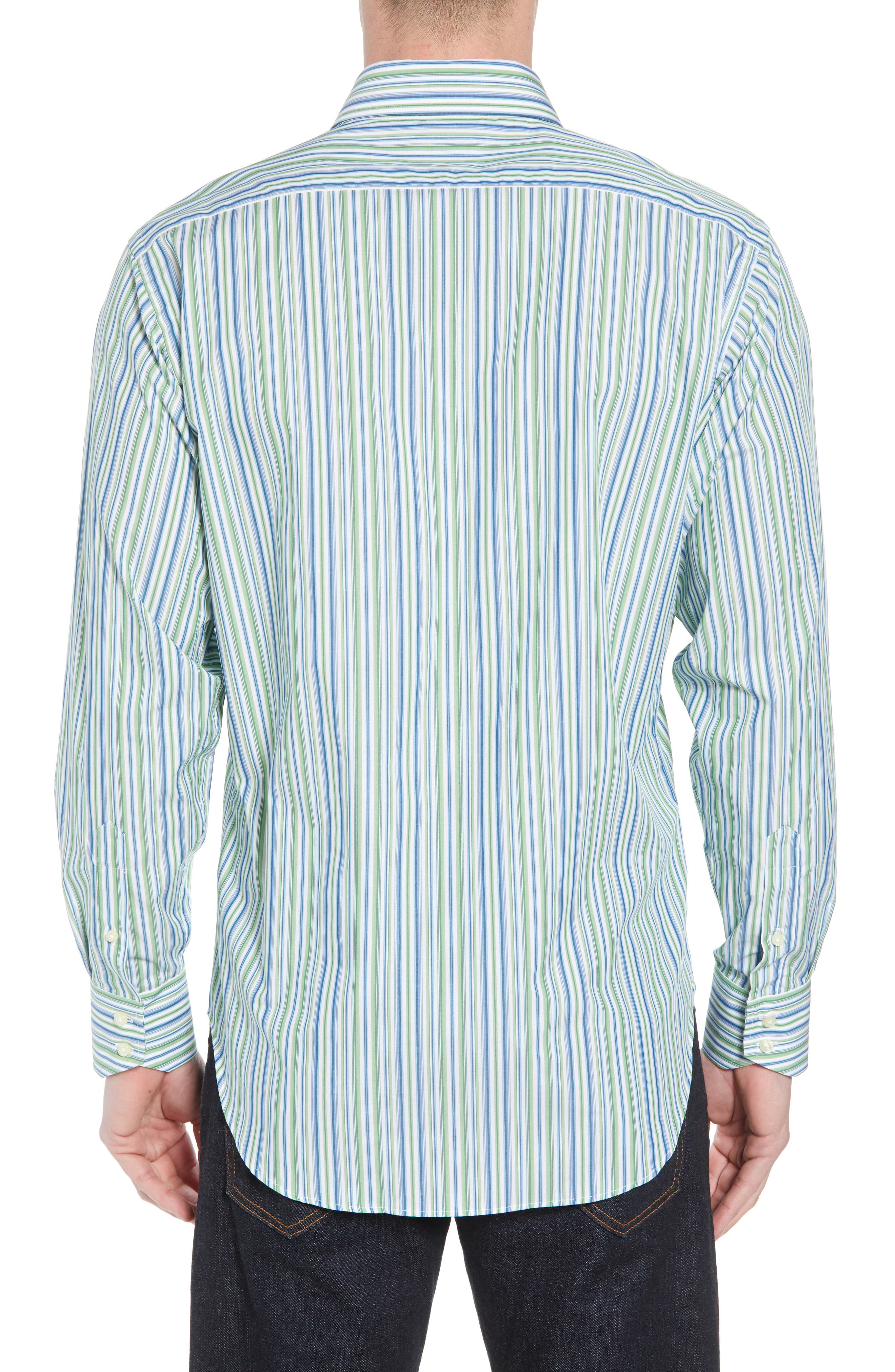 Regular Fit Stripe Sport Shirt,                             Alternate thumbnail 2, color,                             Green