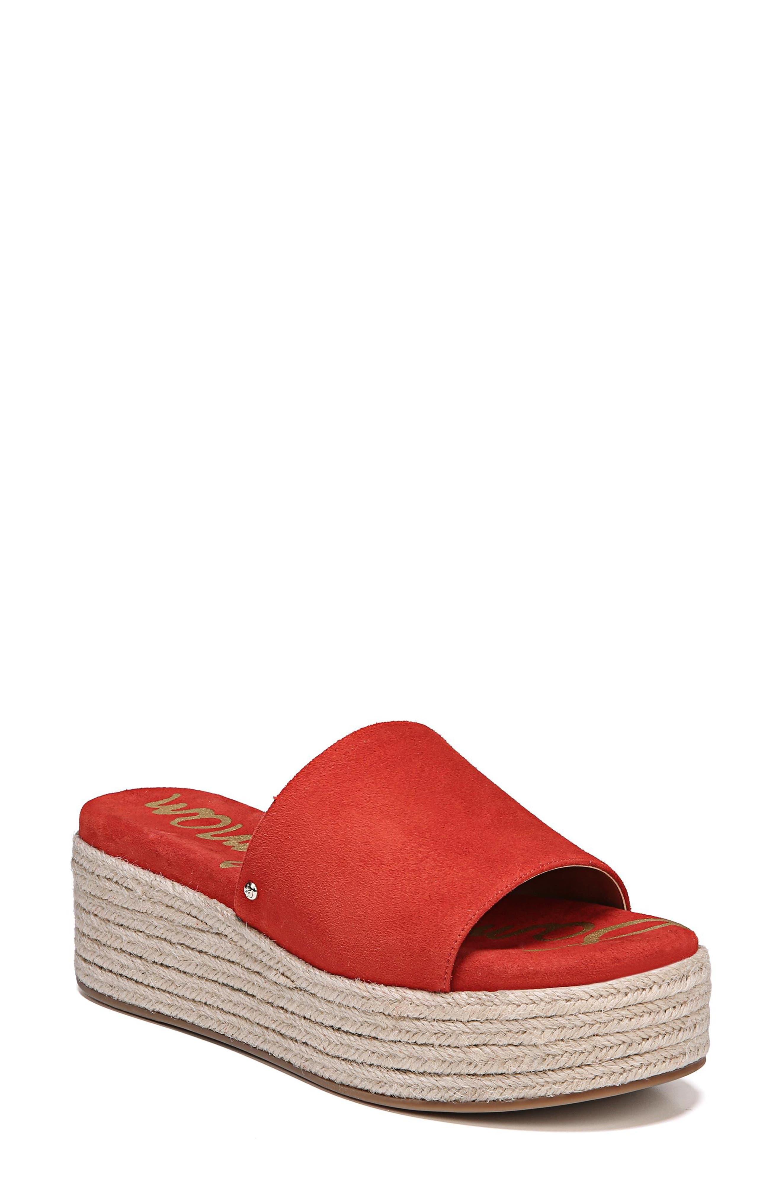 Weslee Platform Slide Sandal,                             Main thumbnail 1, color,                             Candy Red Suede