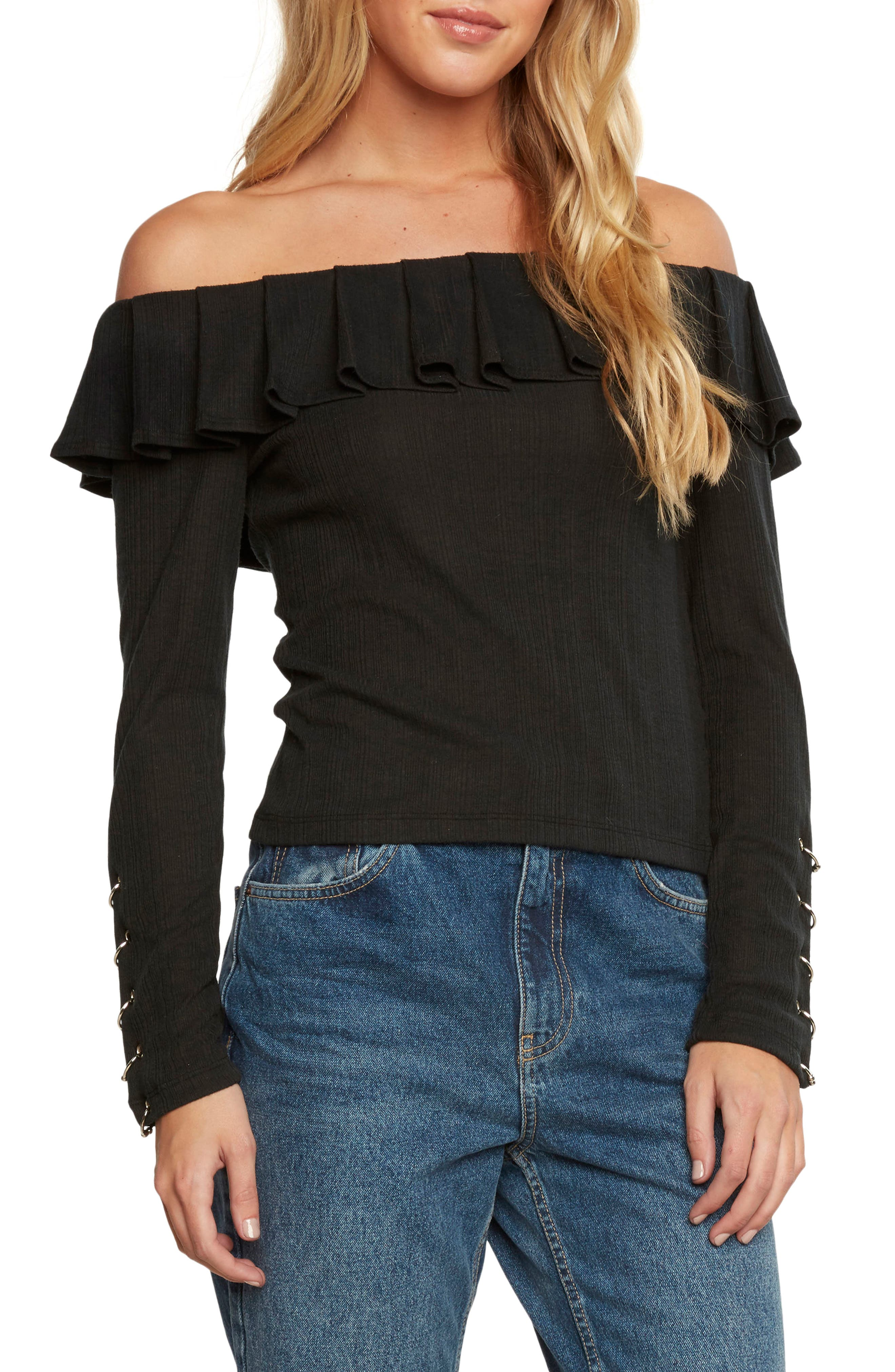 Ribbed Off the Shoulder Top,                             Main thumbnail 1, color,                             Black