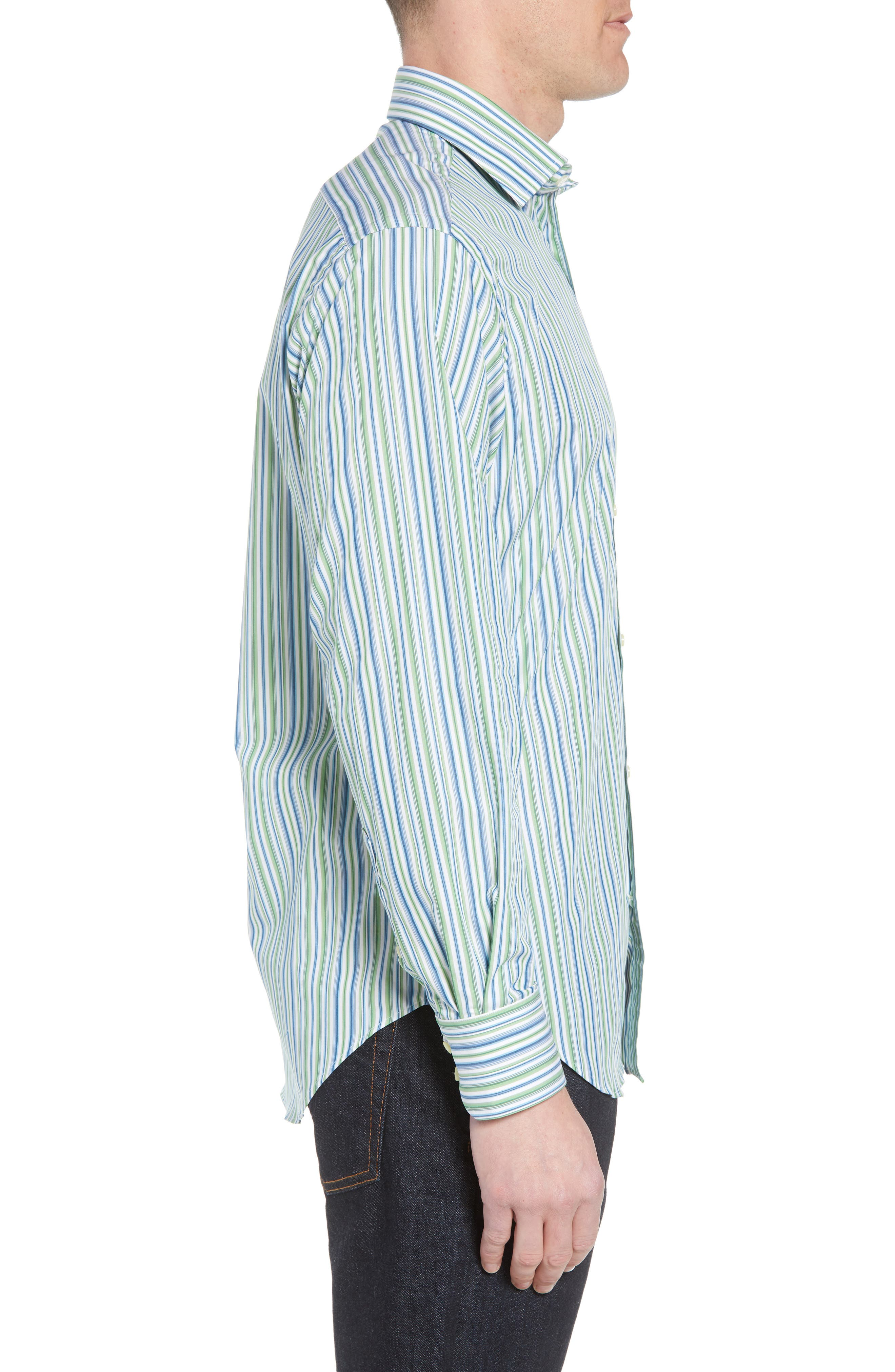 Regular Fit Stripe Sport Shirt,                             Alternate thumbnail 3, color,                             Green