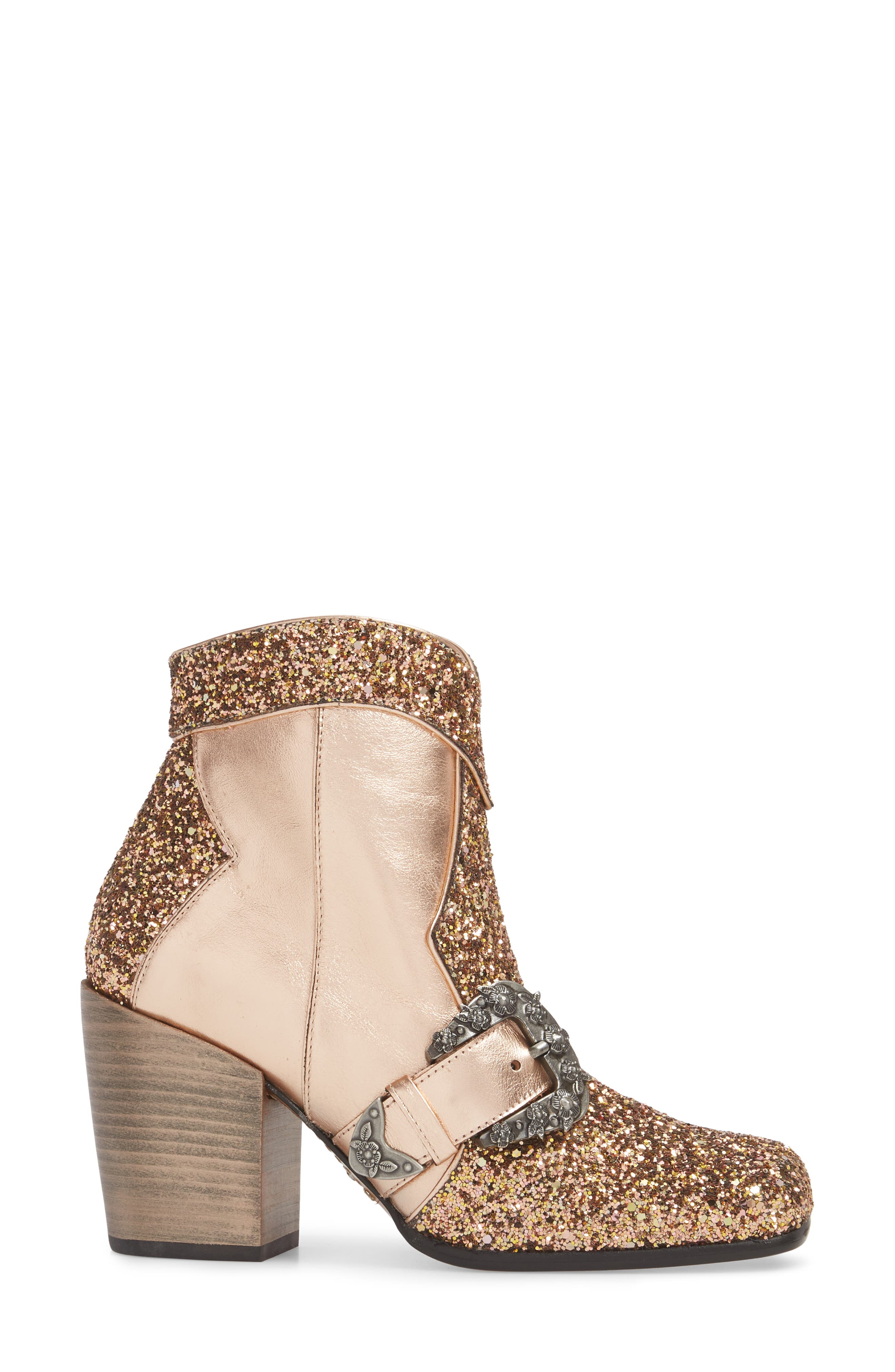 Glitter Western Bootie,                             Alternate thumbnail 3, color,                             Rose Gold Leather