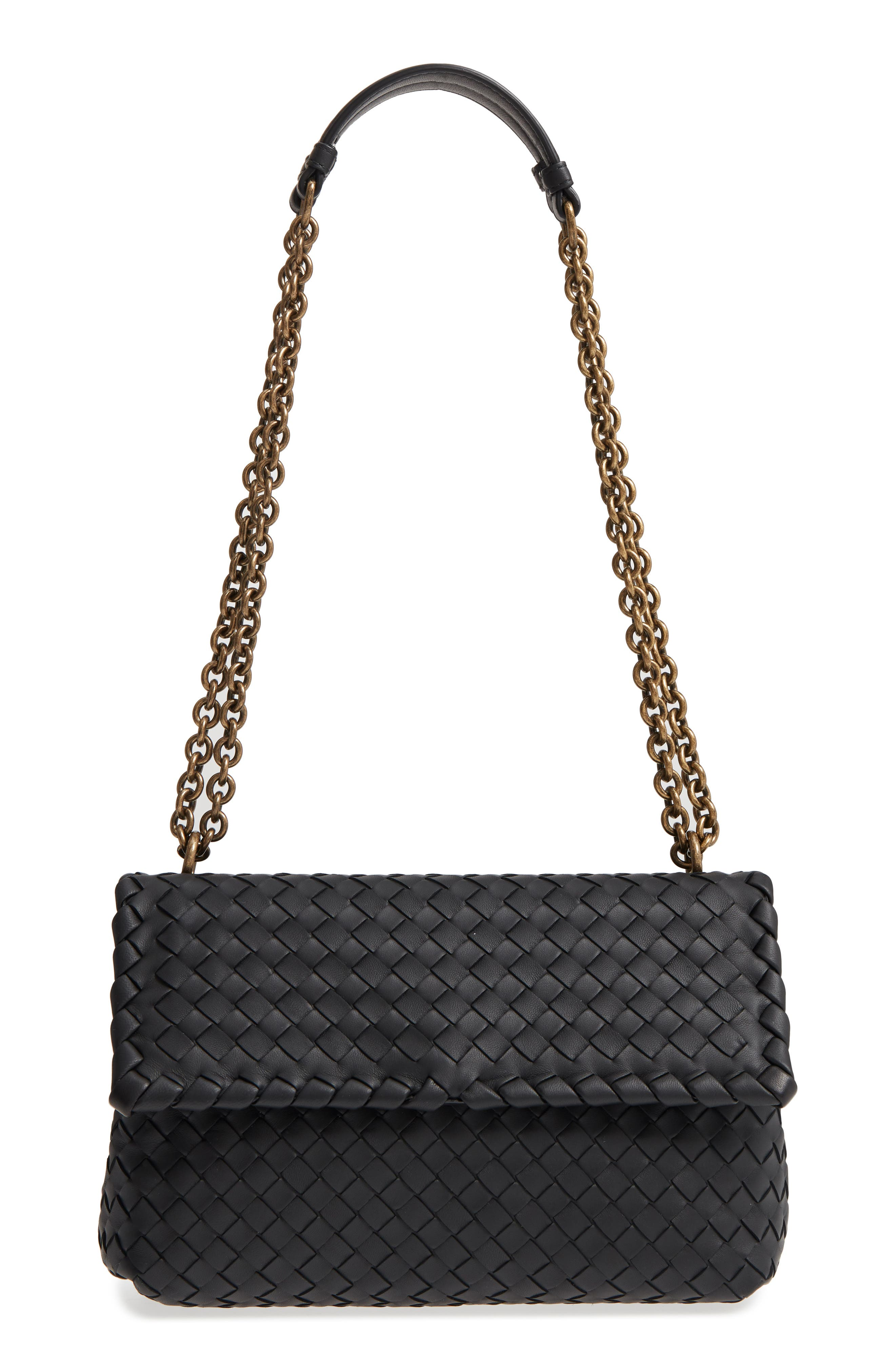 Small Olimpia Leather Shoulder Bag,                         Main,                         color, Nero