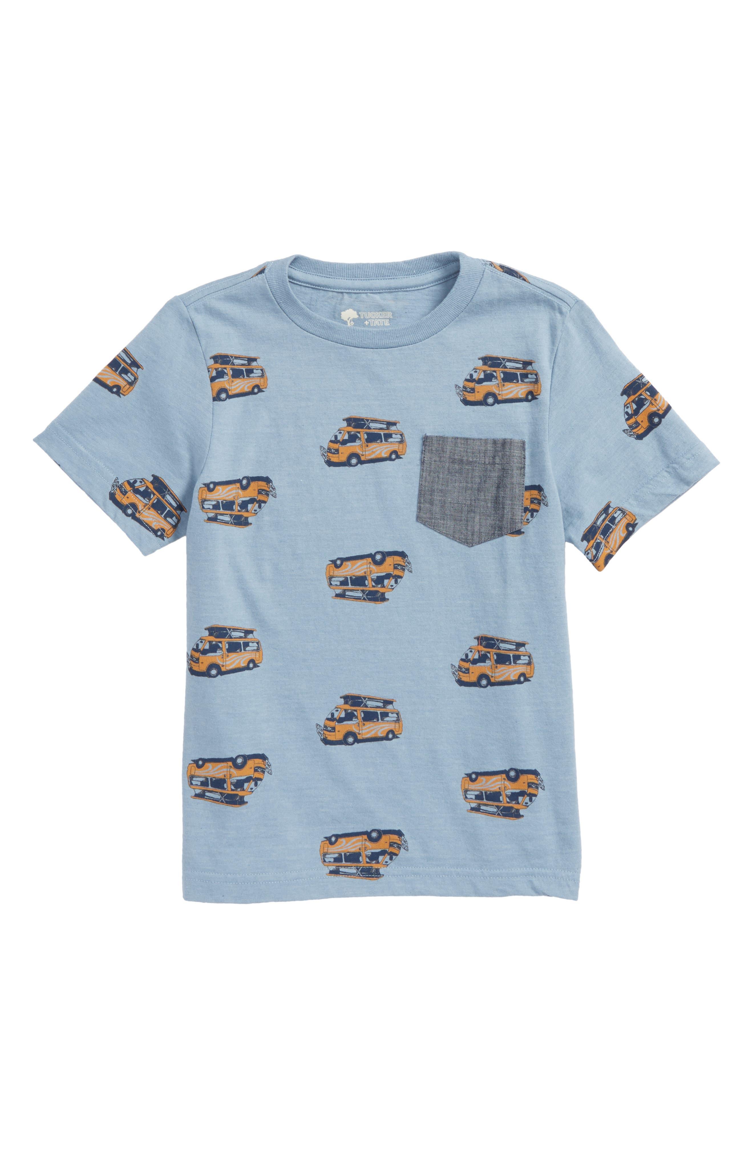 Print Shirt,                             Main thumbnail 1, color,                             Blue Chambray Caravan