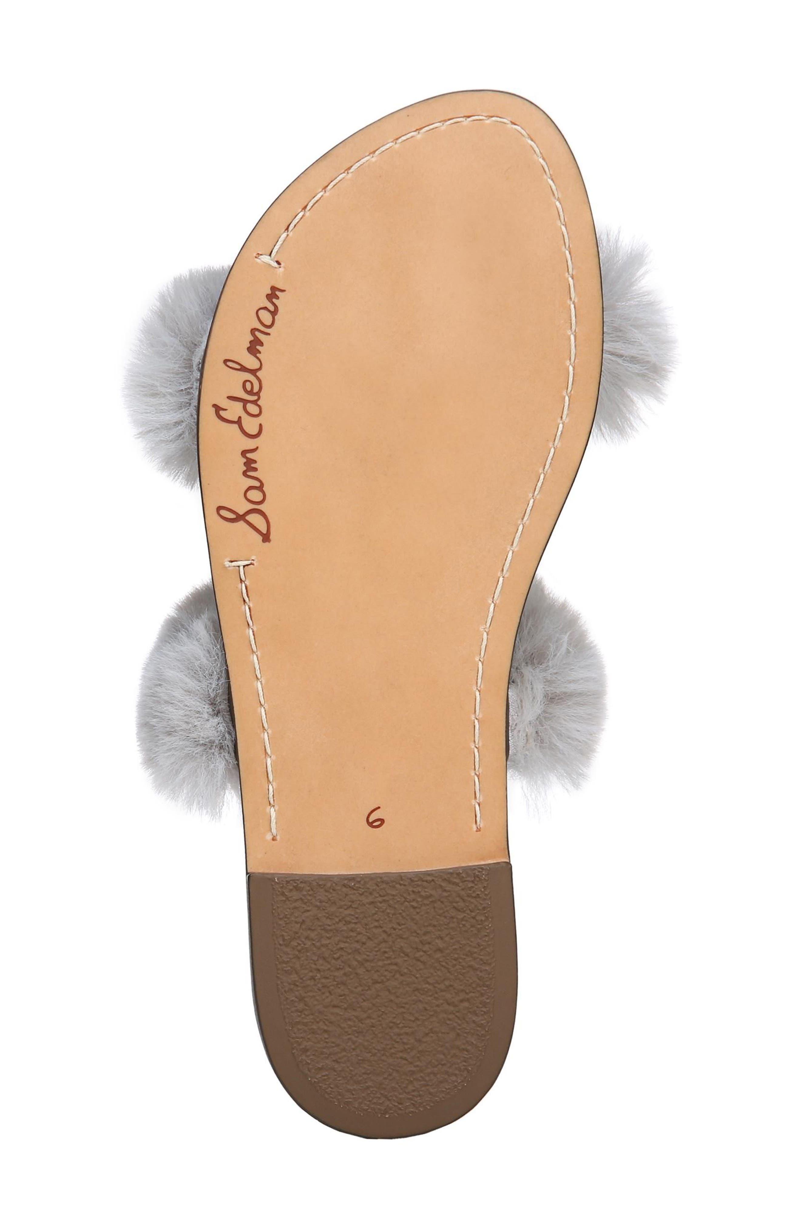 Griselda Faux Fur Slide Sandal,                             Alternate thumbnail 6, color,                             Light Grey Faux Fur