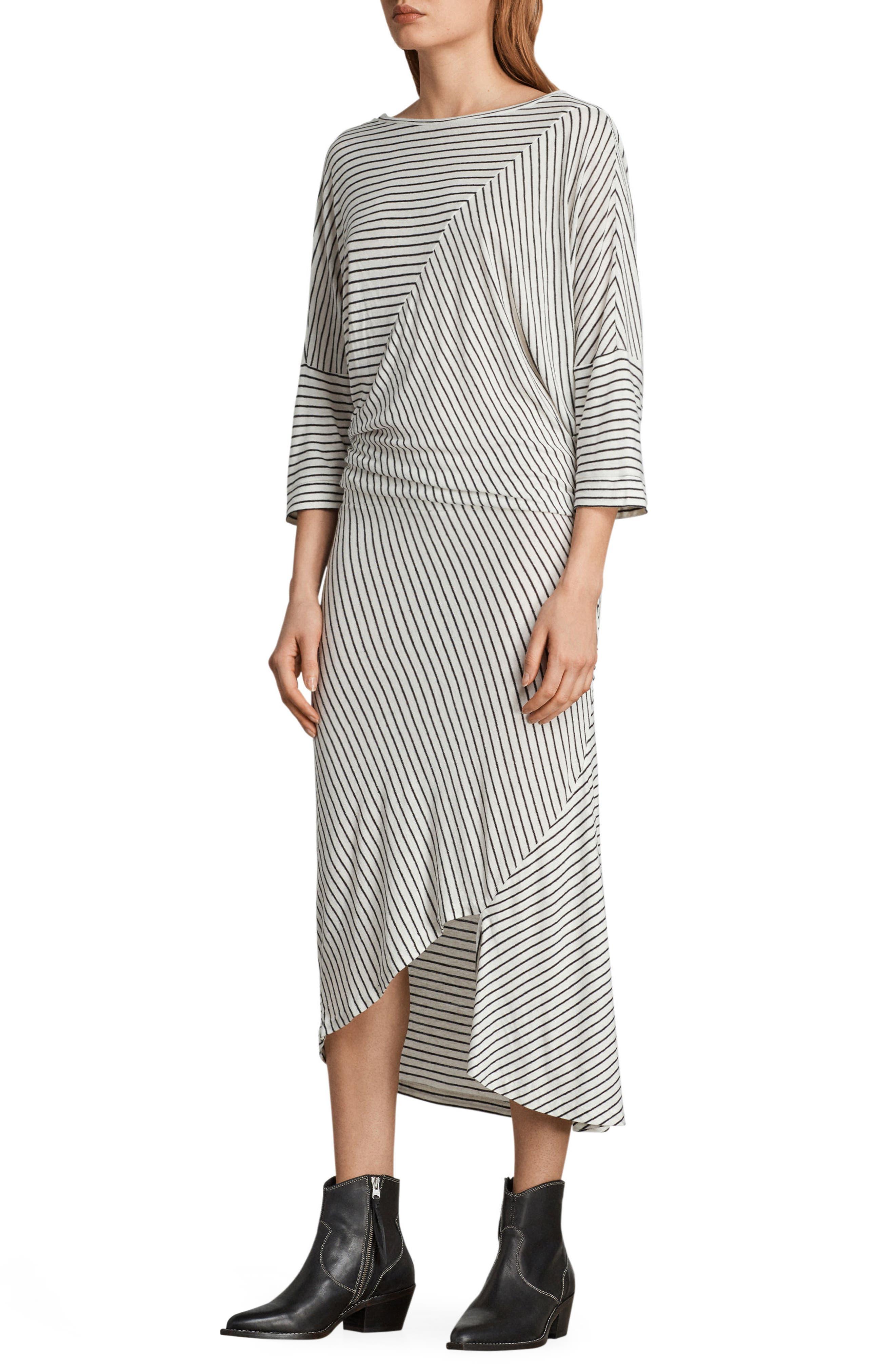 Cadie Stripe Midi Dress,                             Alternate thumbnail 3, color,                             Ecru White/ Black