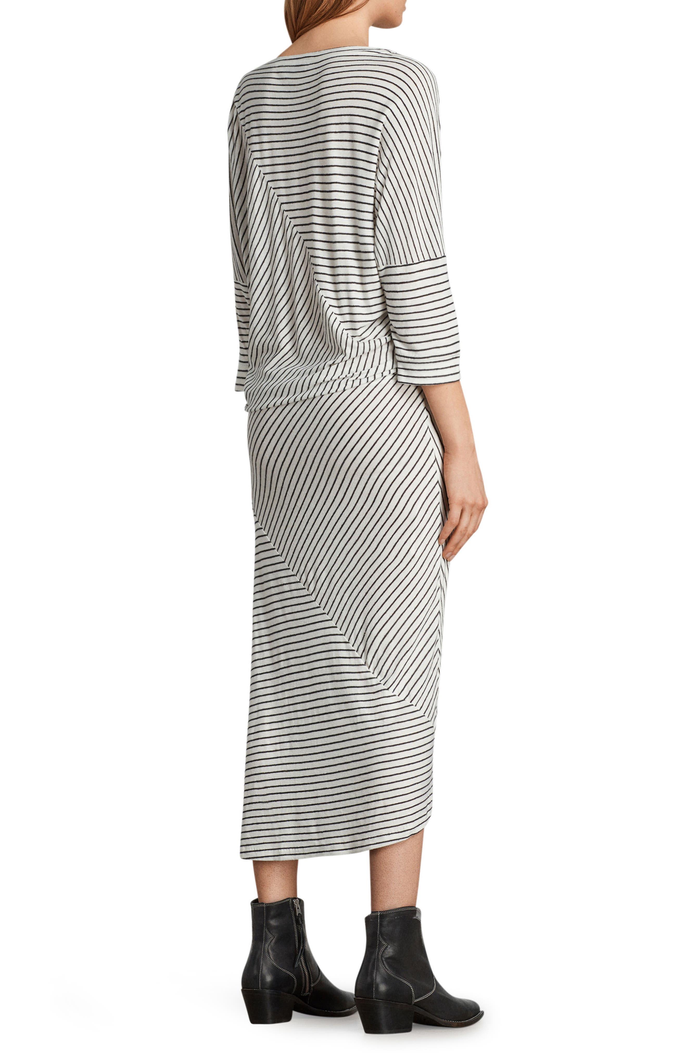 Cadie Stripe Midi Dress,                             Alternate thumbnail 2, color,                             Ecru White/ Black