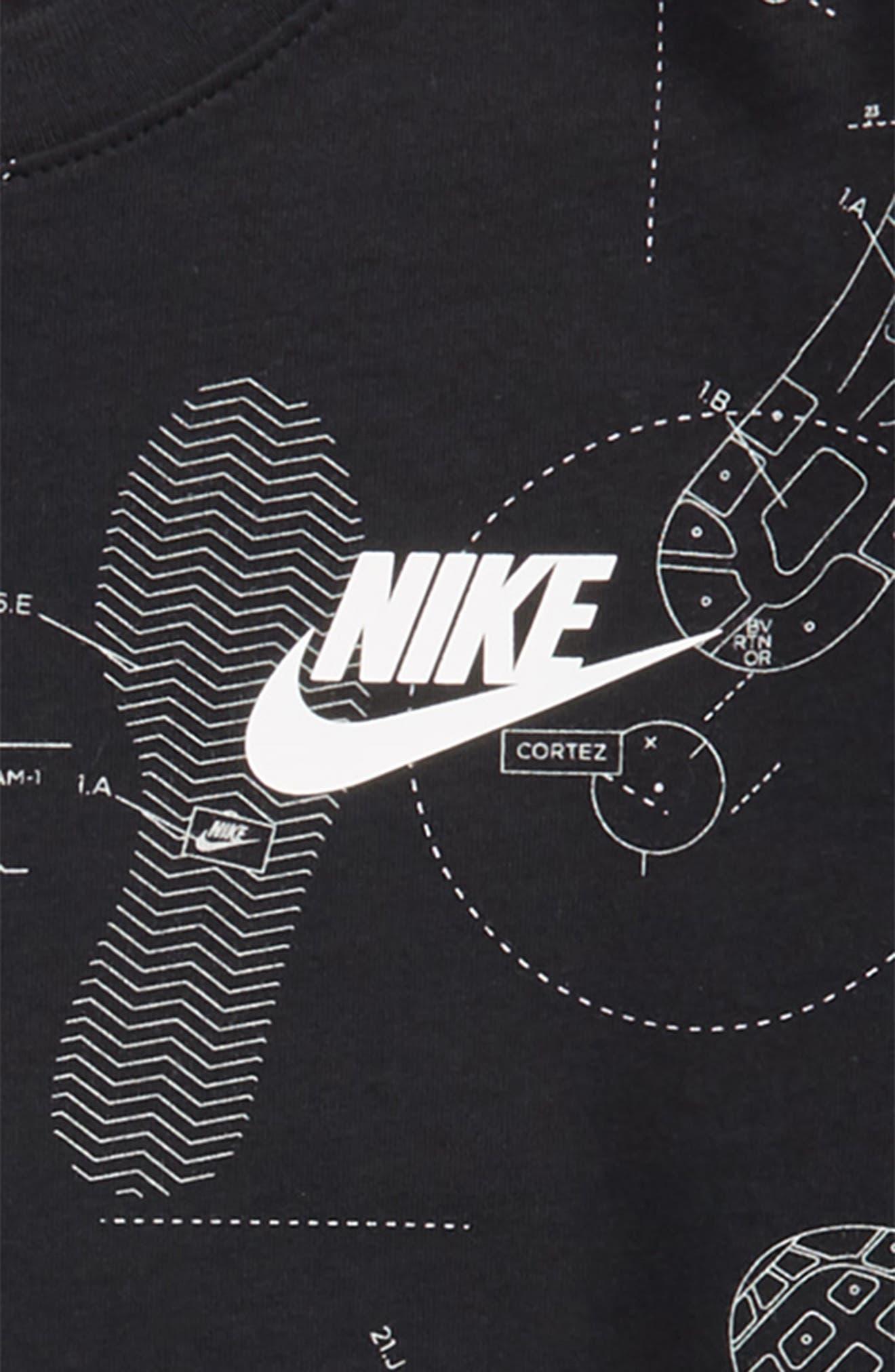 Sportswear Shoeprint Graphic T-Shirt,                             Alternate thumbnail 2, color,                             Black