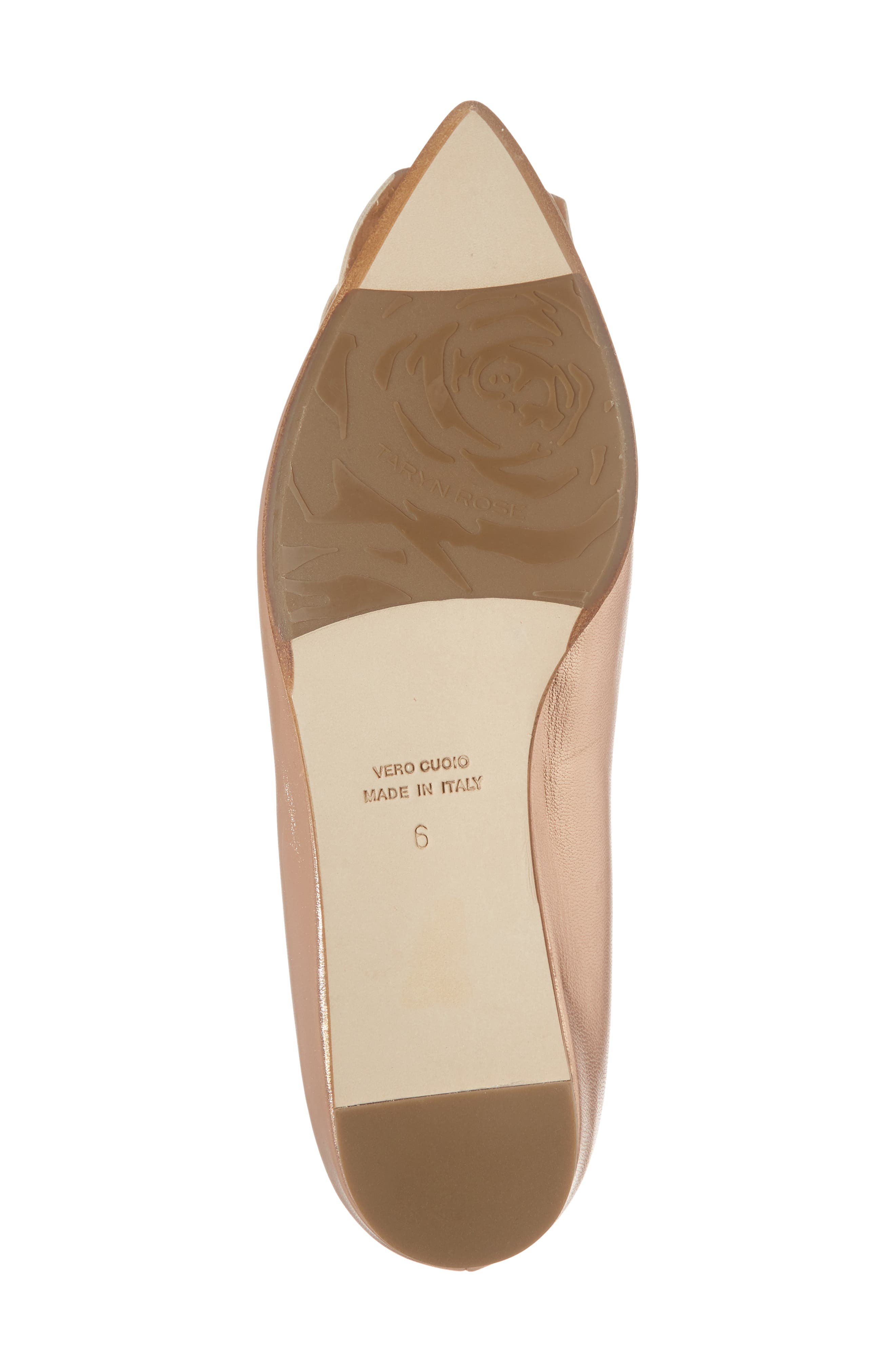 Rialta Flat,                             Alternate thumbnail 6, color,                             Rose Gold Leather