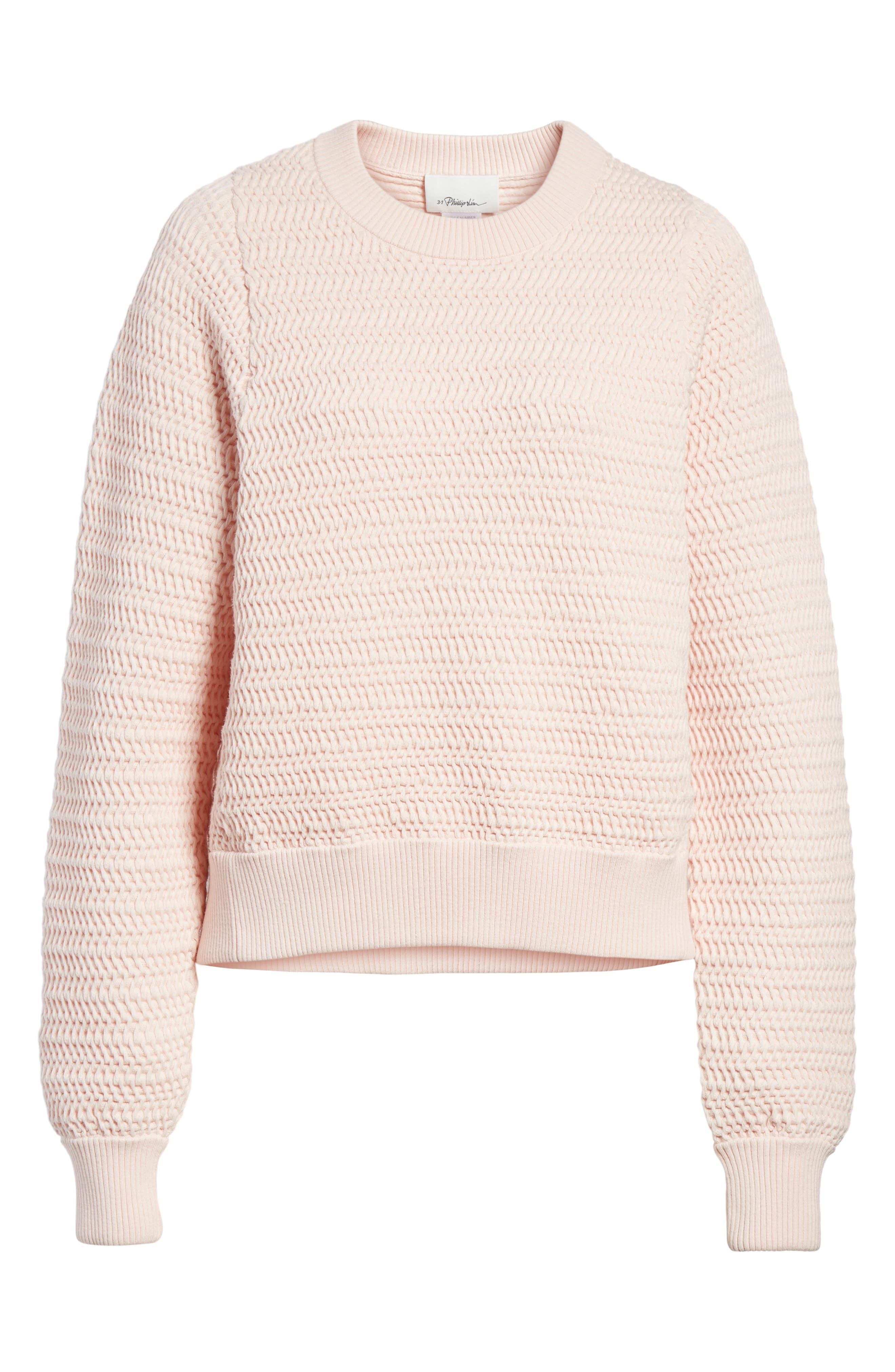 Faux Plait Silk Blend Cocoon Pullover,                             Alternate thumbnail 6, color,                             Powder Pink