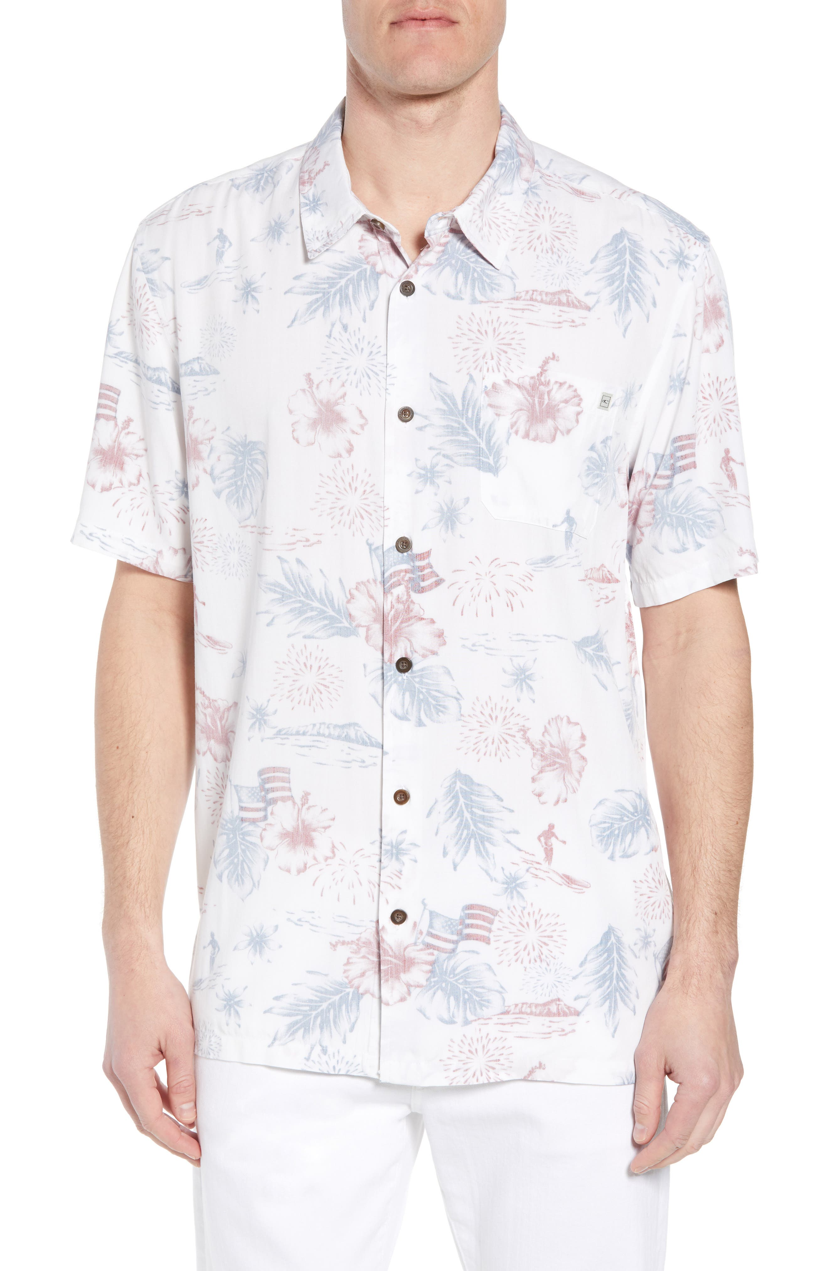 Freedom Print Sport Shirt,                         Main,                         color, White