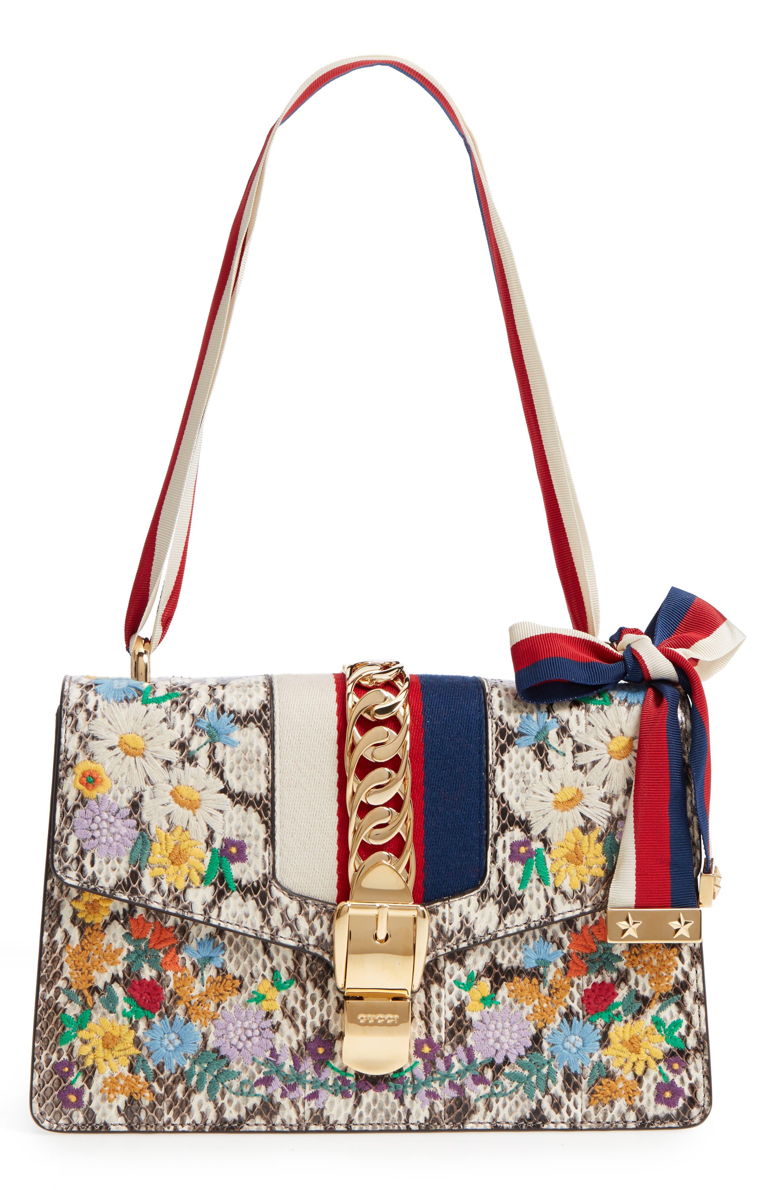 Gucci Small Sylvie Floral Embroidered Genuine Snakeskin Shoulder Bag
