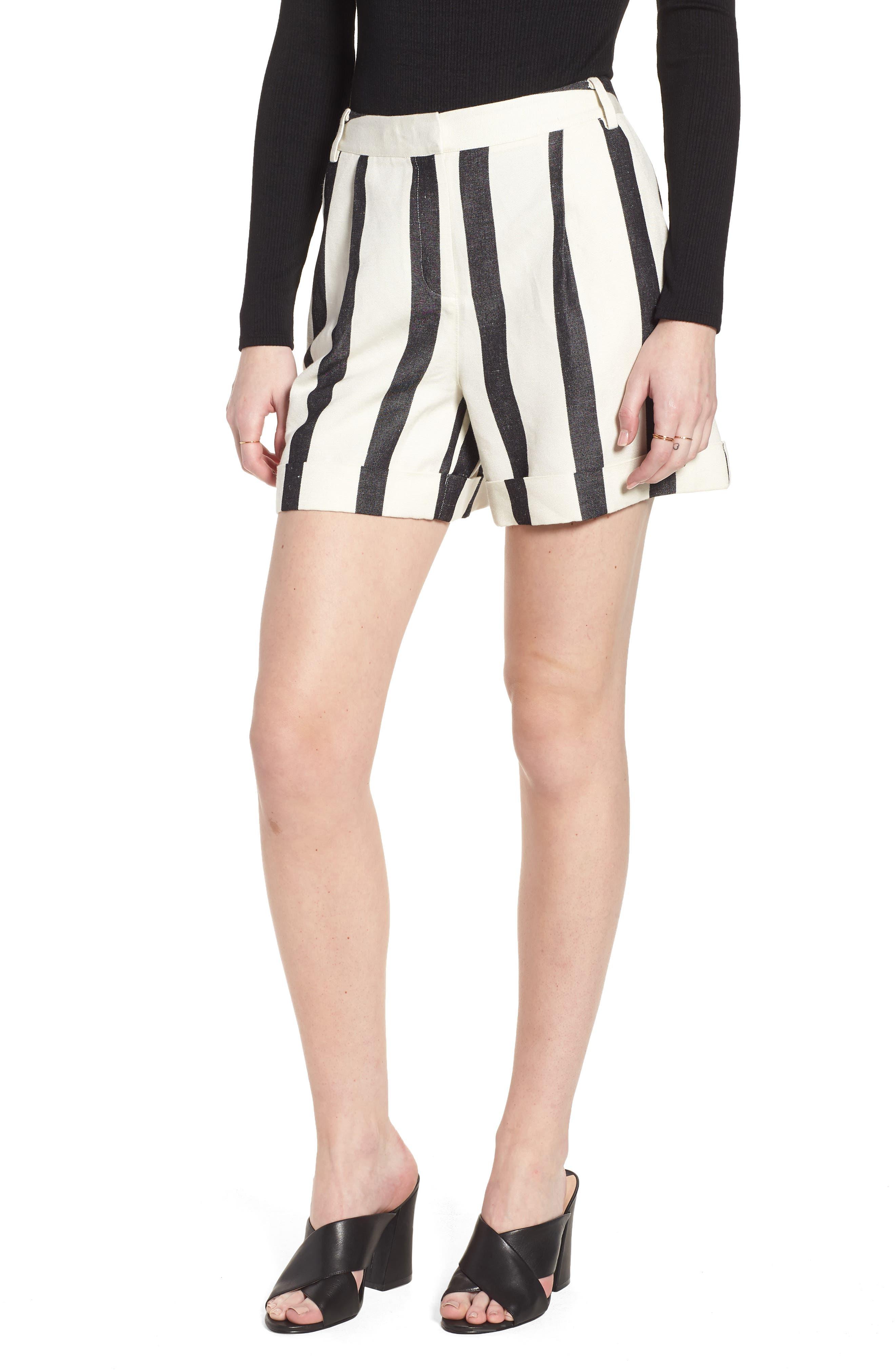 Stripe Cuff Shorts,                             Main thumbnail 1, color,                             Black- Ivory Bold Stripe