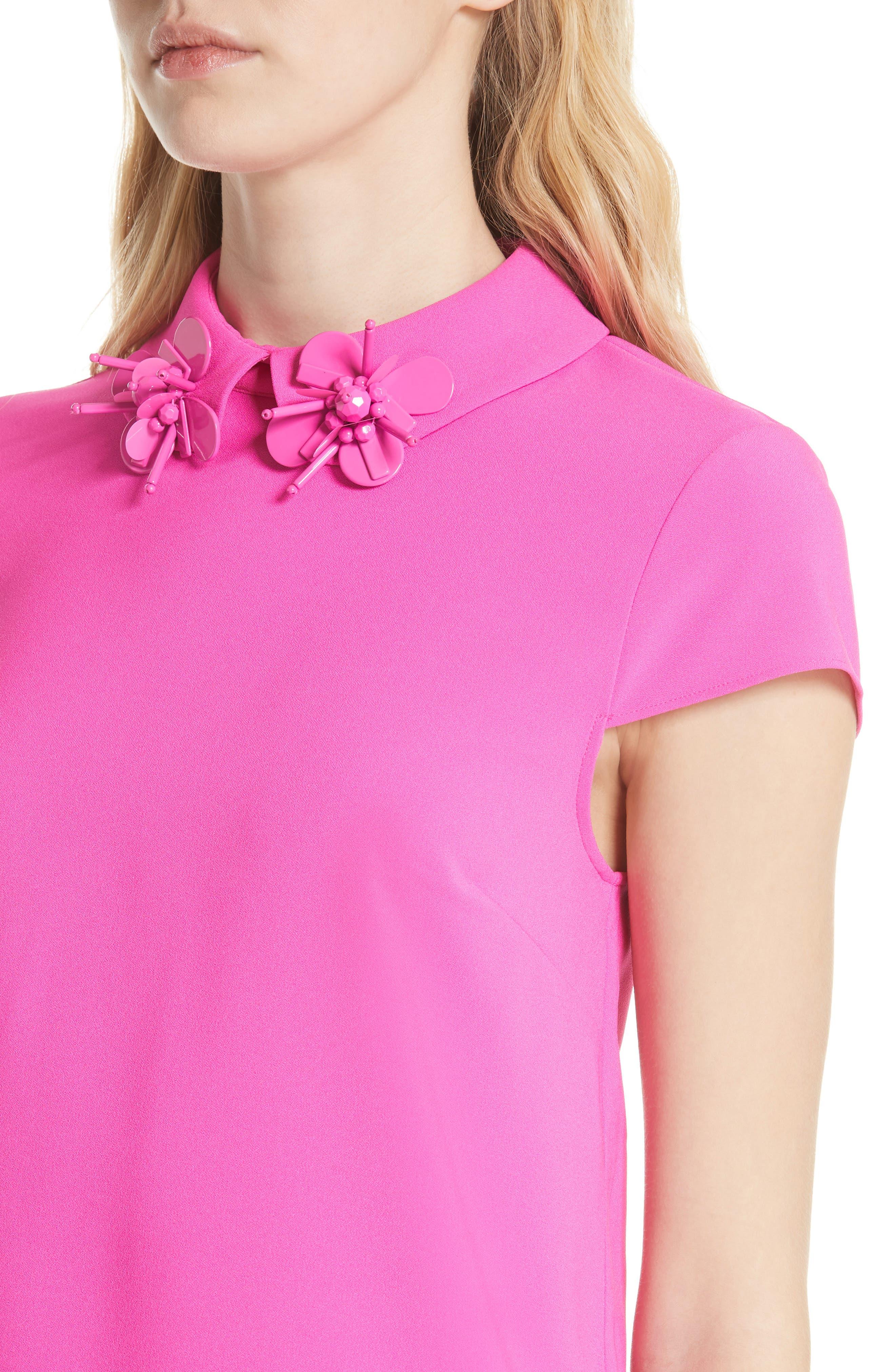 Ammah Embellished Collar Crepe Top,                             Alternate thumbnail 4, color,                             Neon Pink