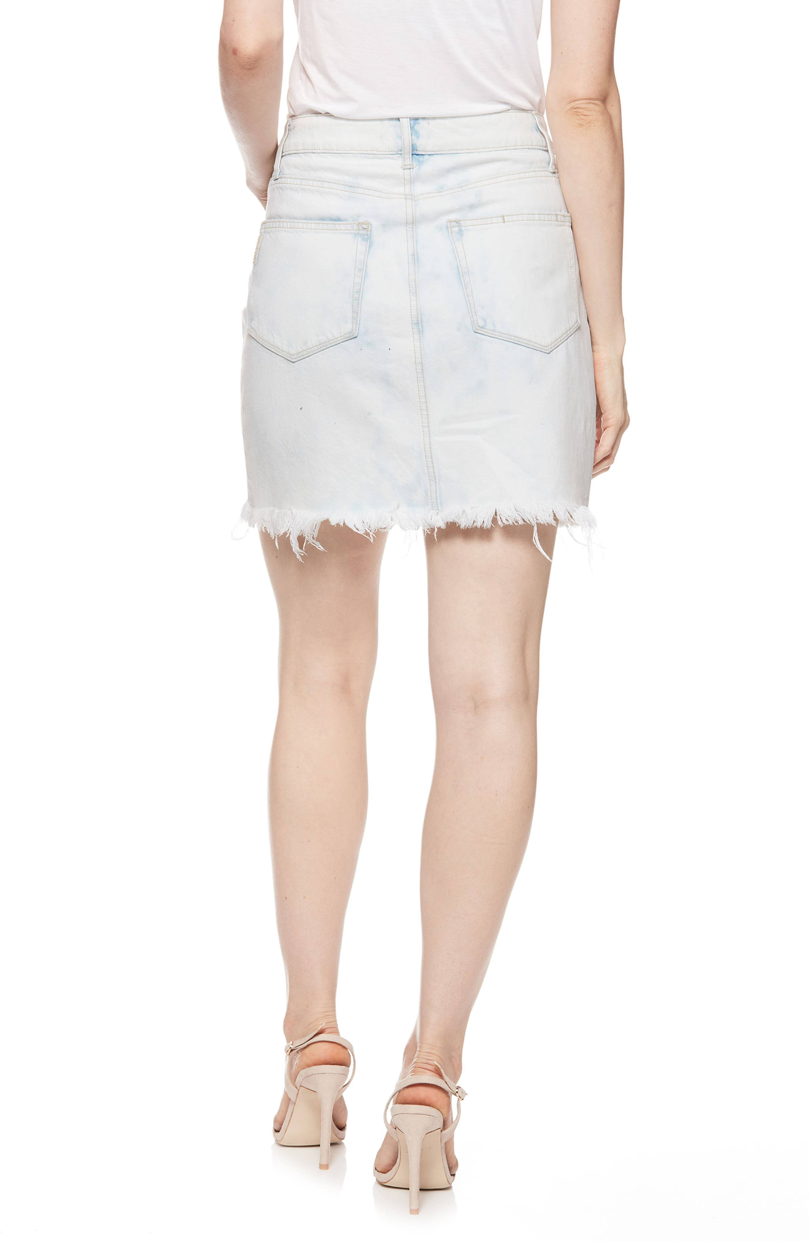 Jamine High Waist Denim Skirt,                             Alternate thumbnail 2, color,                             Misty Cloud