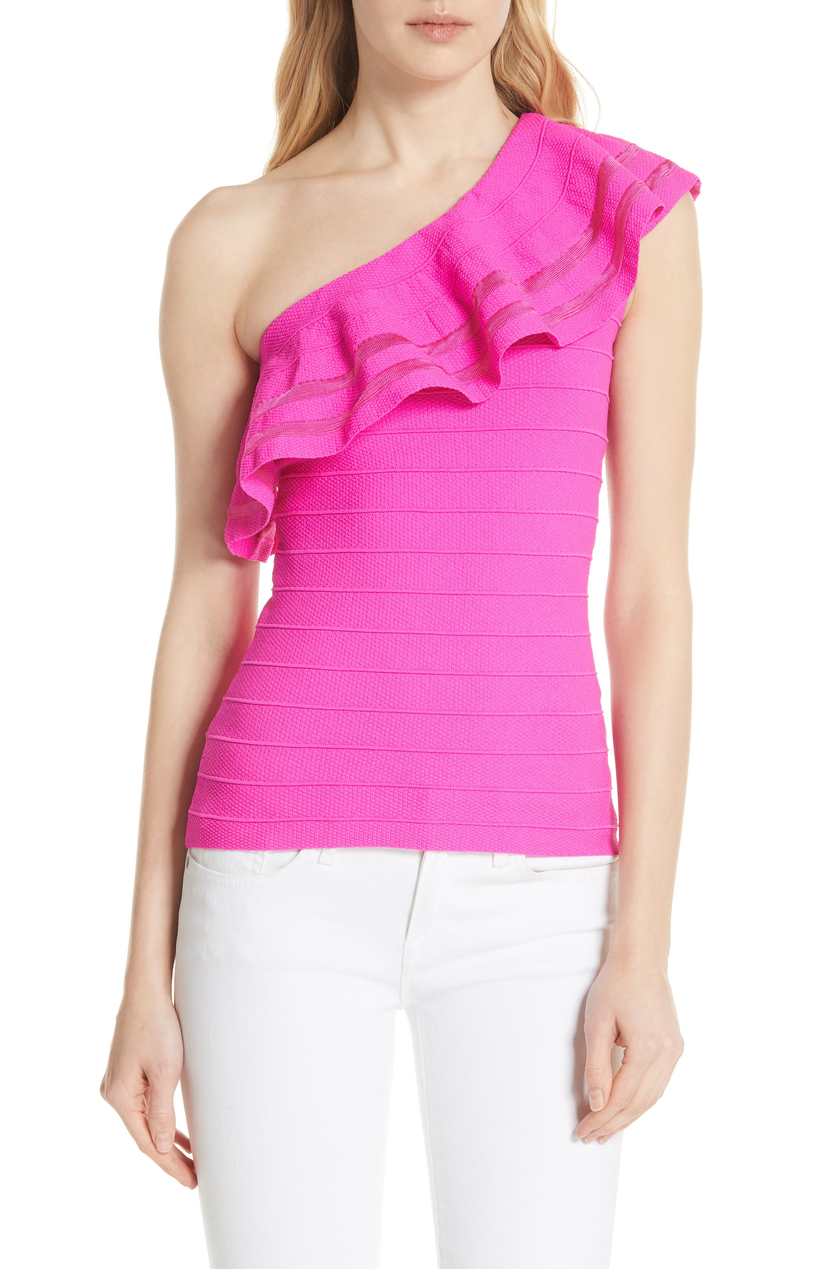Main Image - Ted Baker London Reigann One-Shoulder Ruffle Knit Top