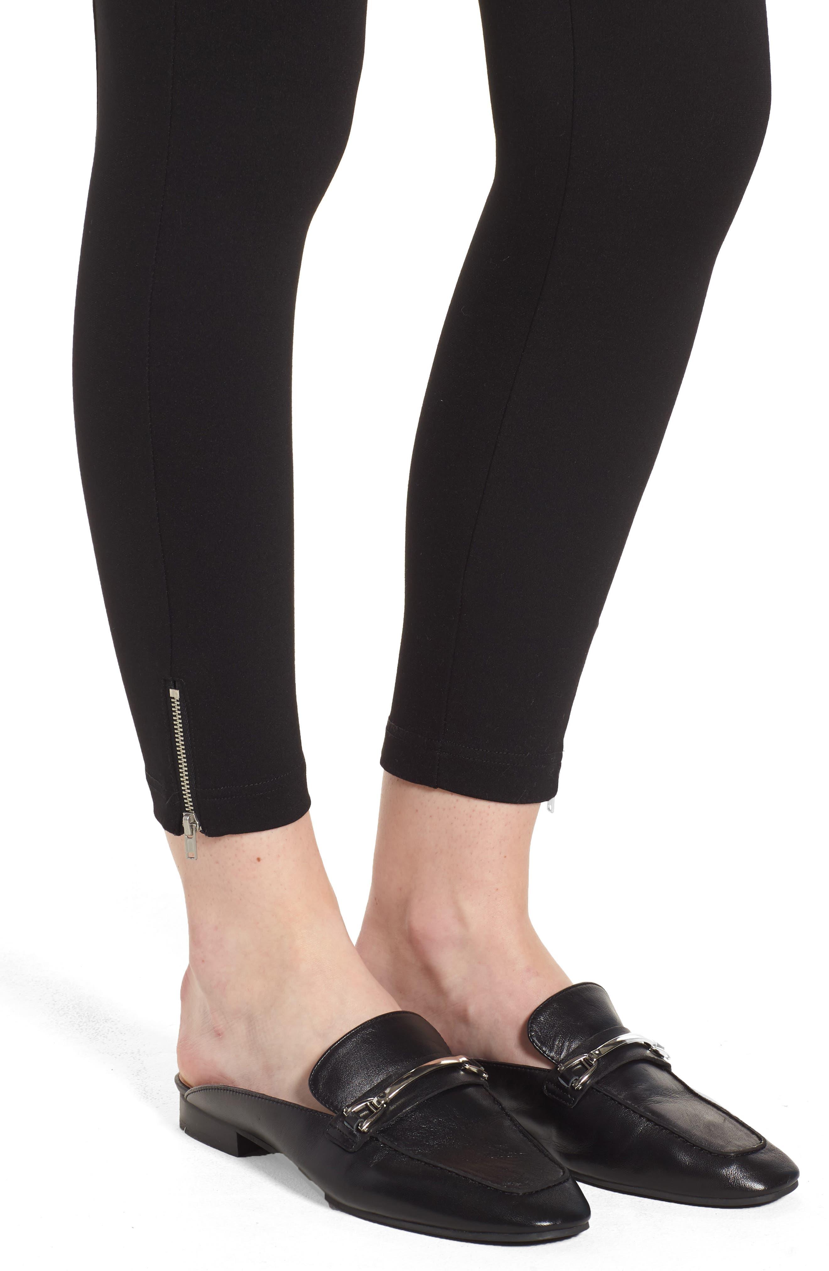 Mini Zip Crop Leggings,                             Alternate thumbnail 4, color,                             Black