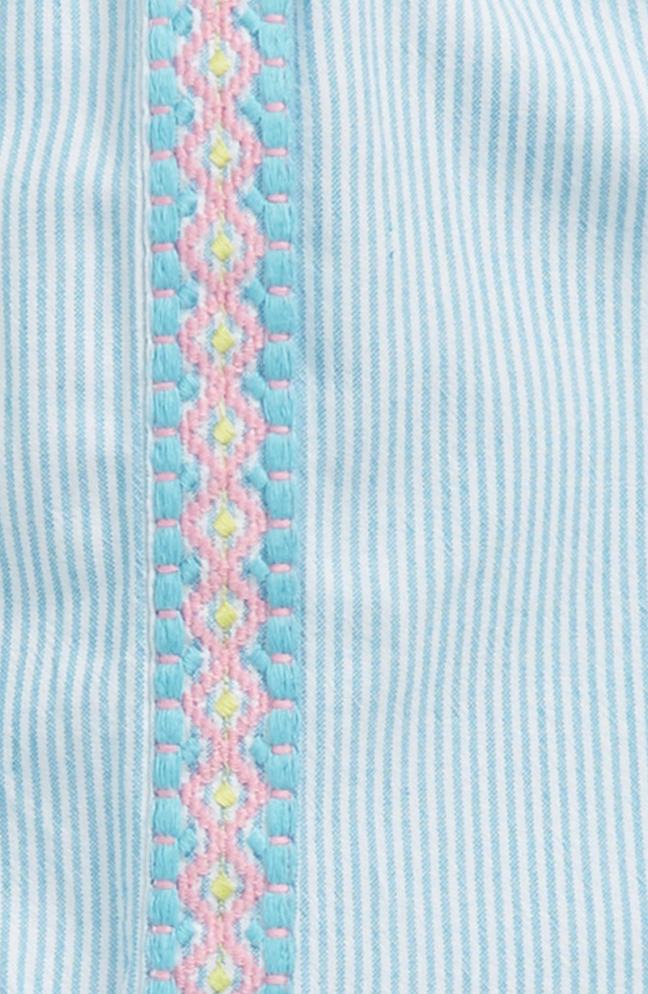Embroidered Stripe Top,                             Alternate thumbnail 2, color,                             Turquoise