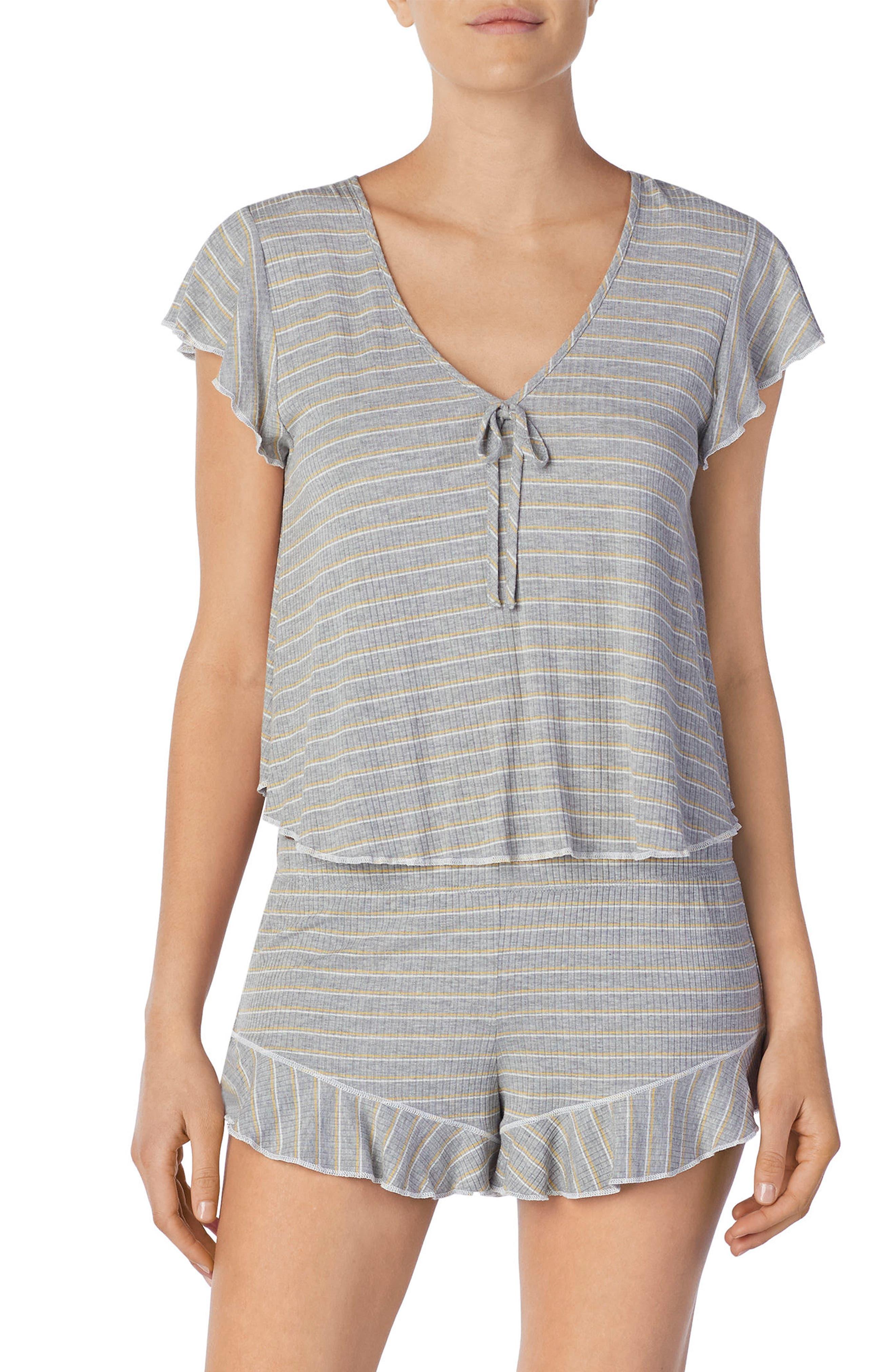 Stripe Short Pajamas,                         Main,                         color, Grey Heather