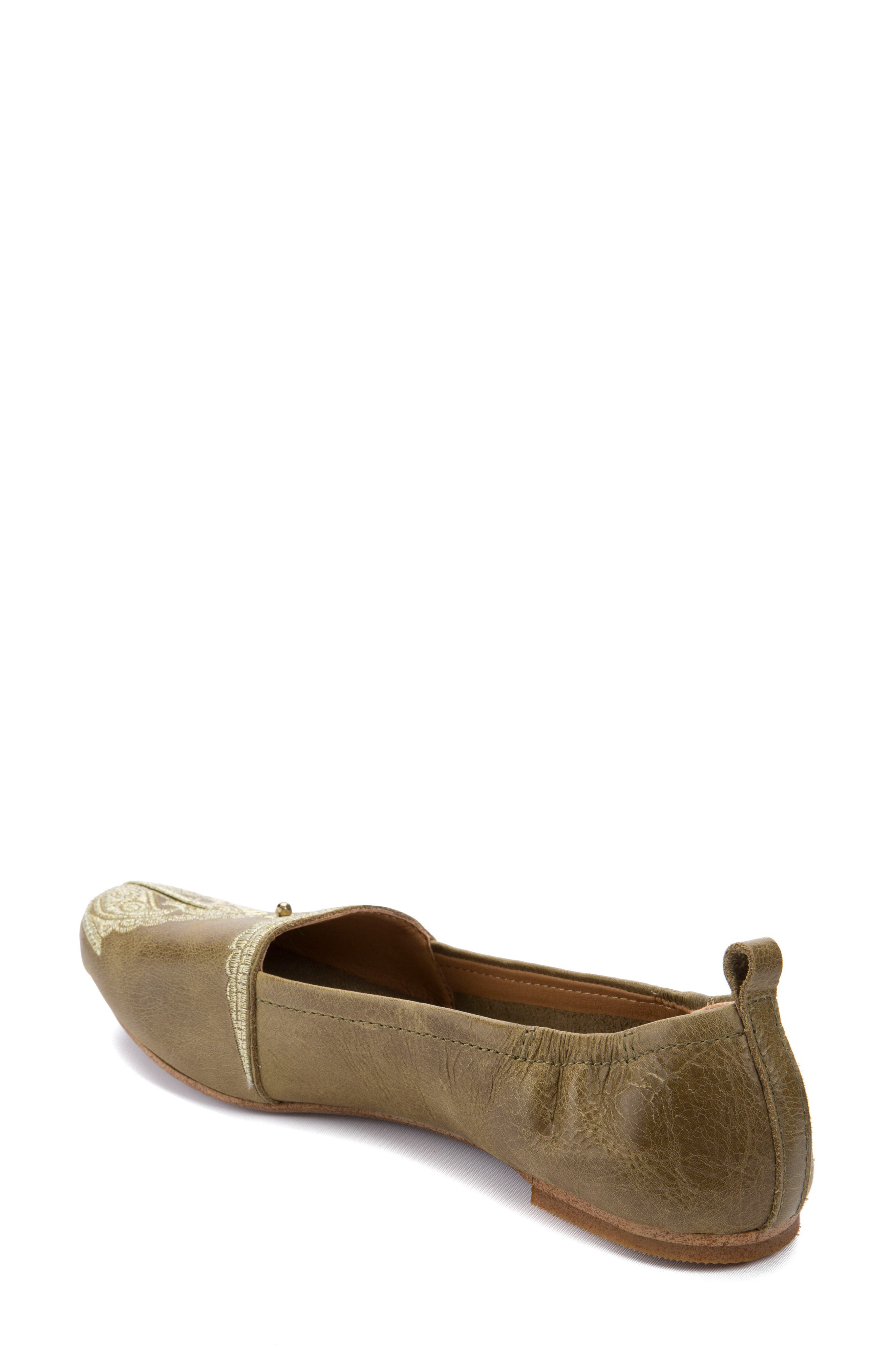 Bonzai Embroidered Flat,                             Alternate thumbnail 2, color,                             Olive Leather