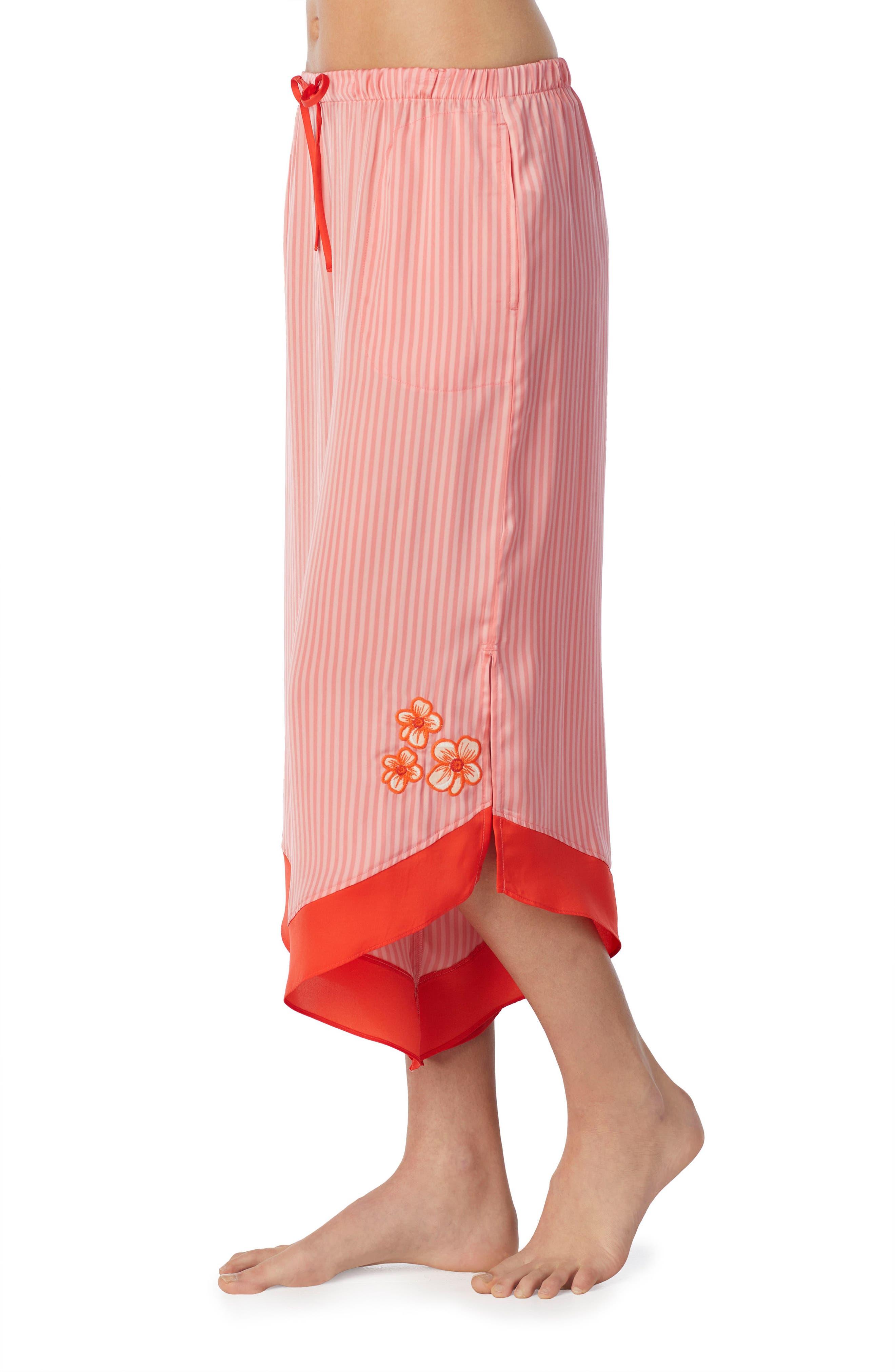 Satin Crop Pants,                             Alternate thumbnail 3, color,                             Pink Glow Stripe