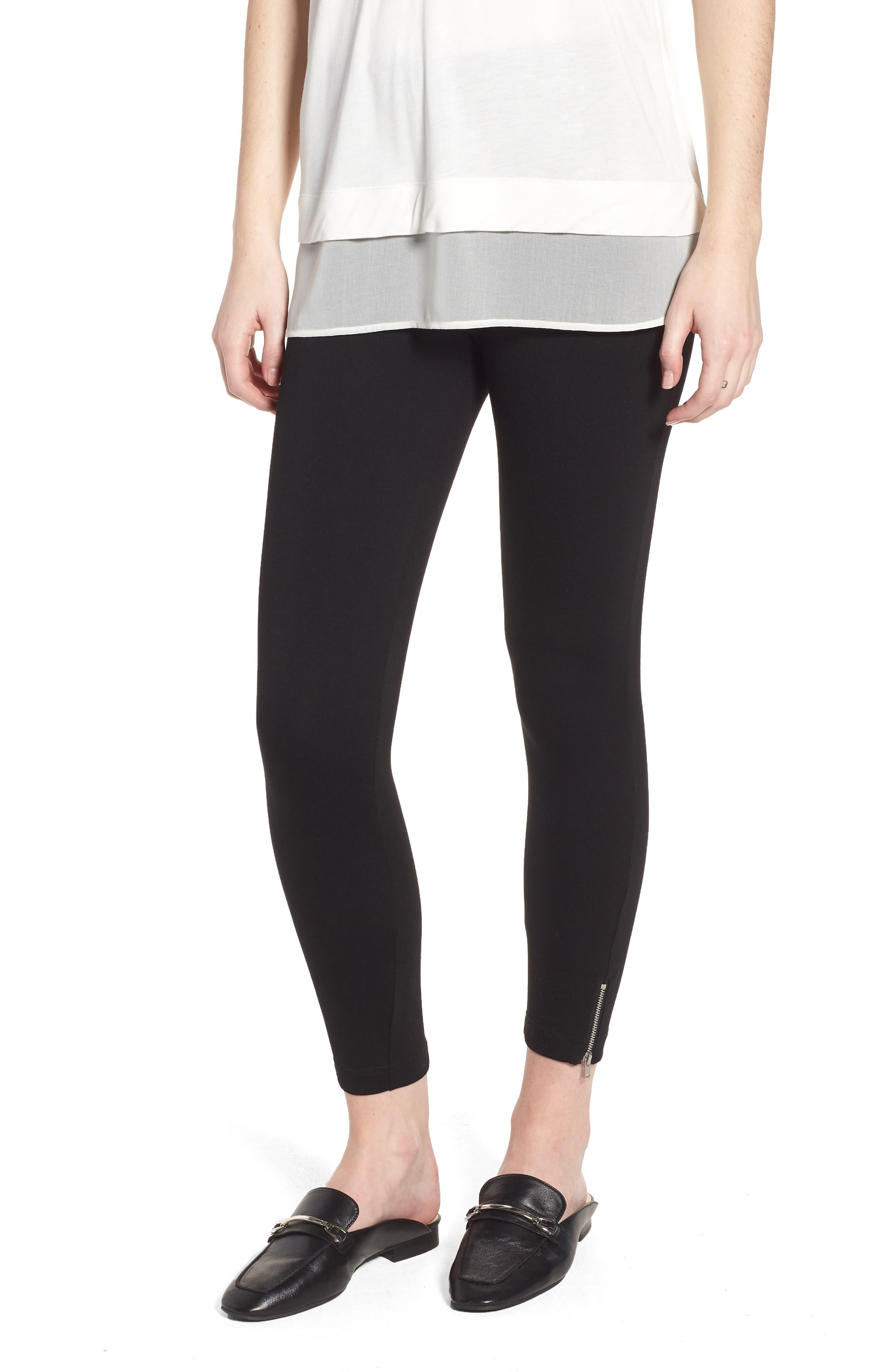 Mini Zip Crop Leggings,                             Main thumbnail 1, color,                             Black
