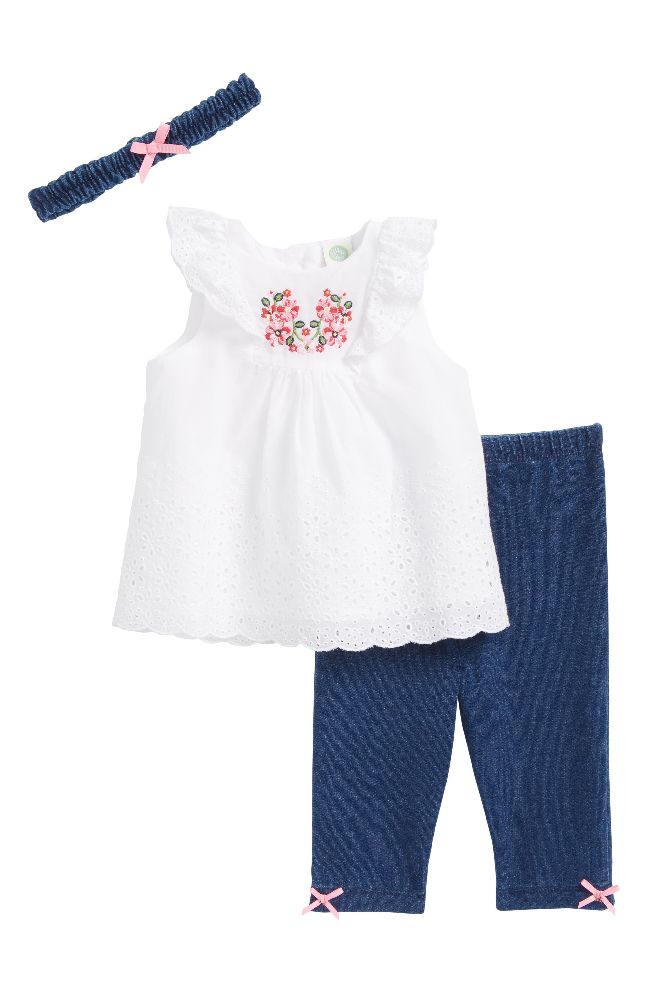 Main Image - Little Me Embroidered Eyelet Tunic, Leggings & Head Wrap Set (Baby Girls)