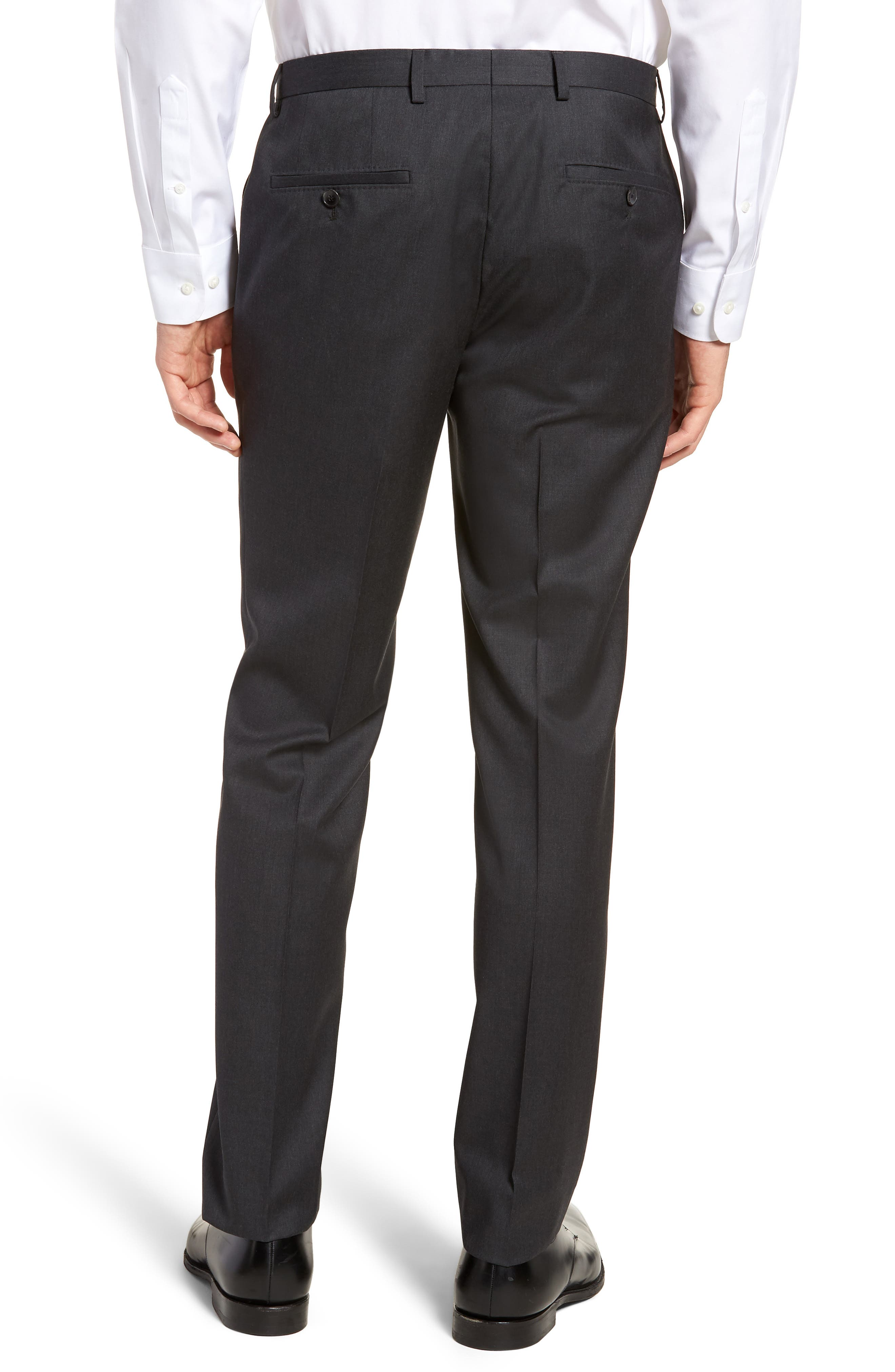 Lenon CYL Flat Front Solid Wool Trousers,                             Alternate thumbnail 2, color,                             Dark Grey