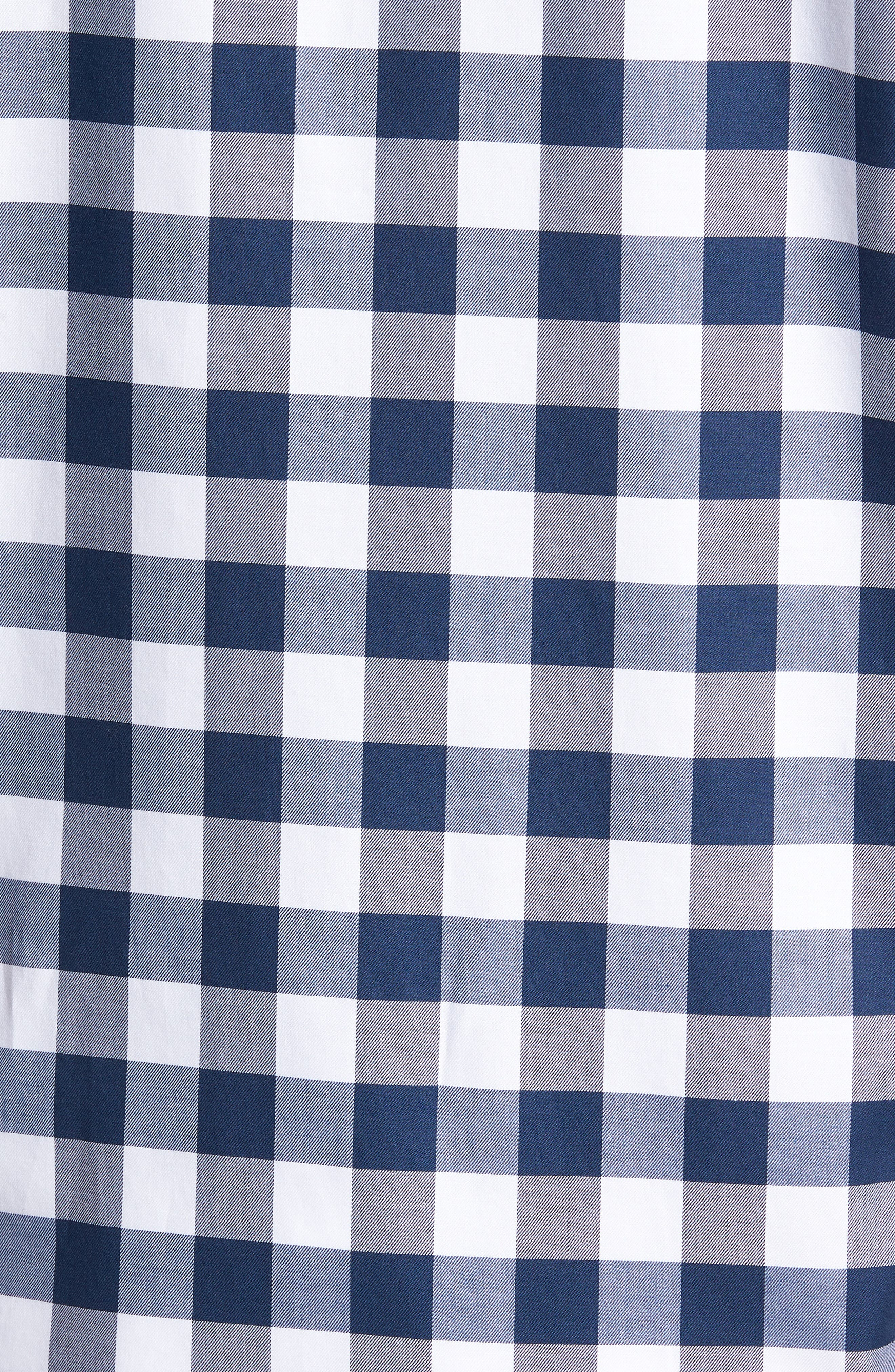 Regular Fit Buffalo Check Sport Shirt,                             Alternate thumbnail 5, color,                             Yacht Blue