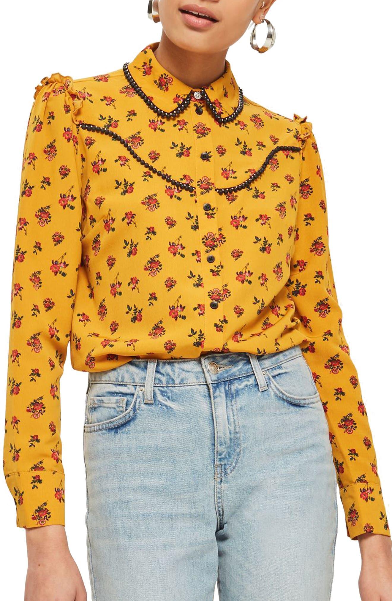 Rodeo Floral Retro Shirt,                             Main thumbnail 1, color,                             Mustard