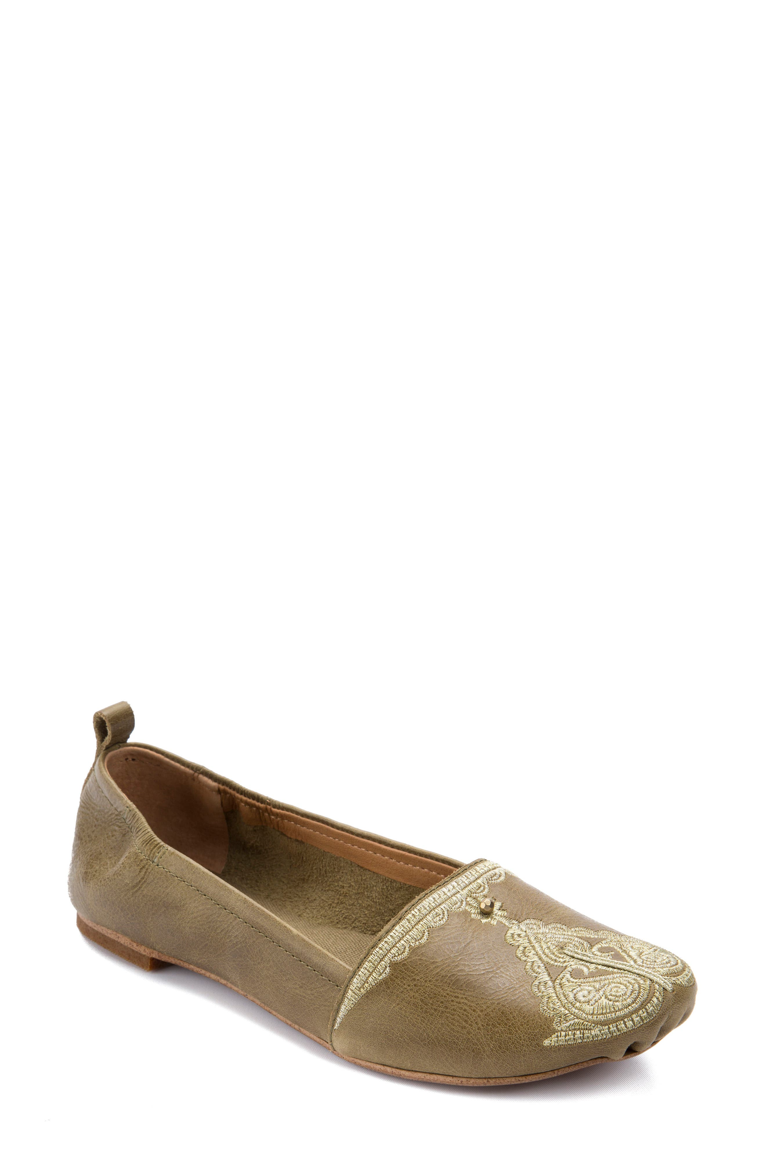 Bonzai Embroidered Flat,                             Main thumbnail 1, color,                             Olive Leather