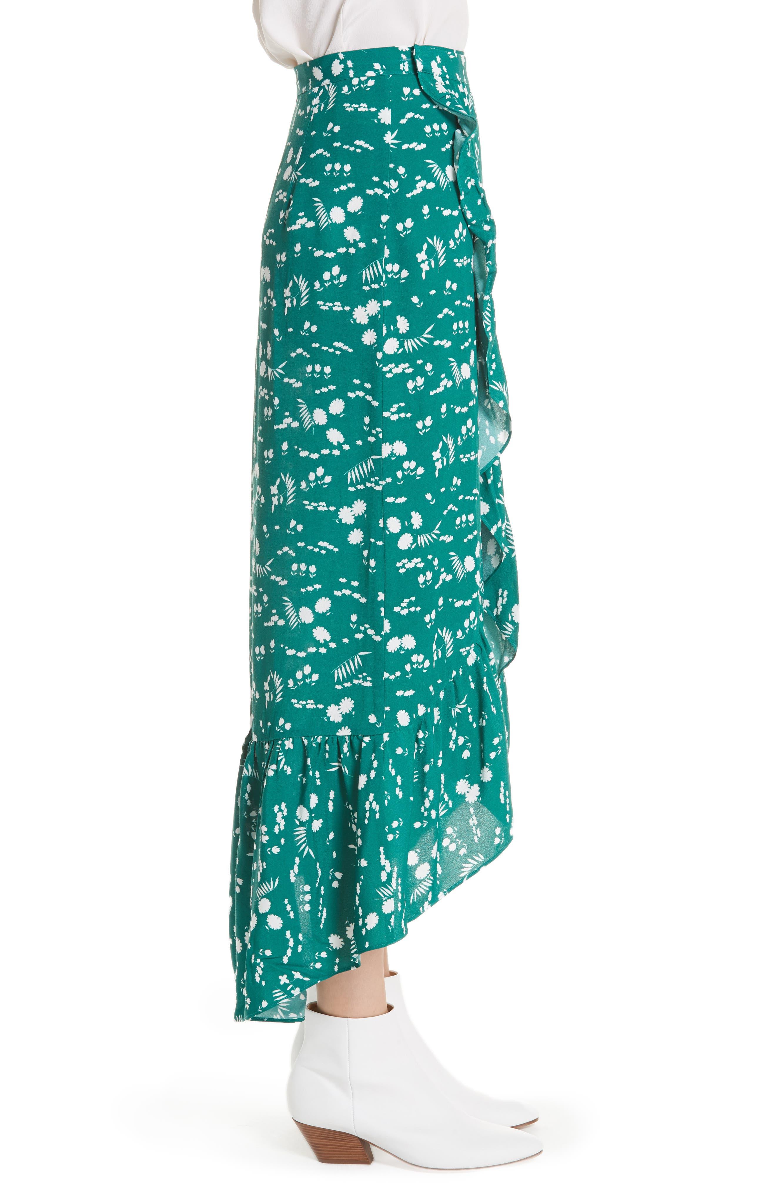 Floral High/Low Wrap Skirt,                             Alternate thumbnail 3, color,                             Imprime