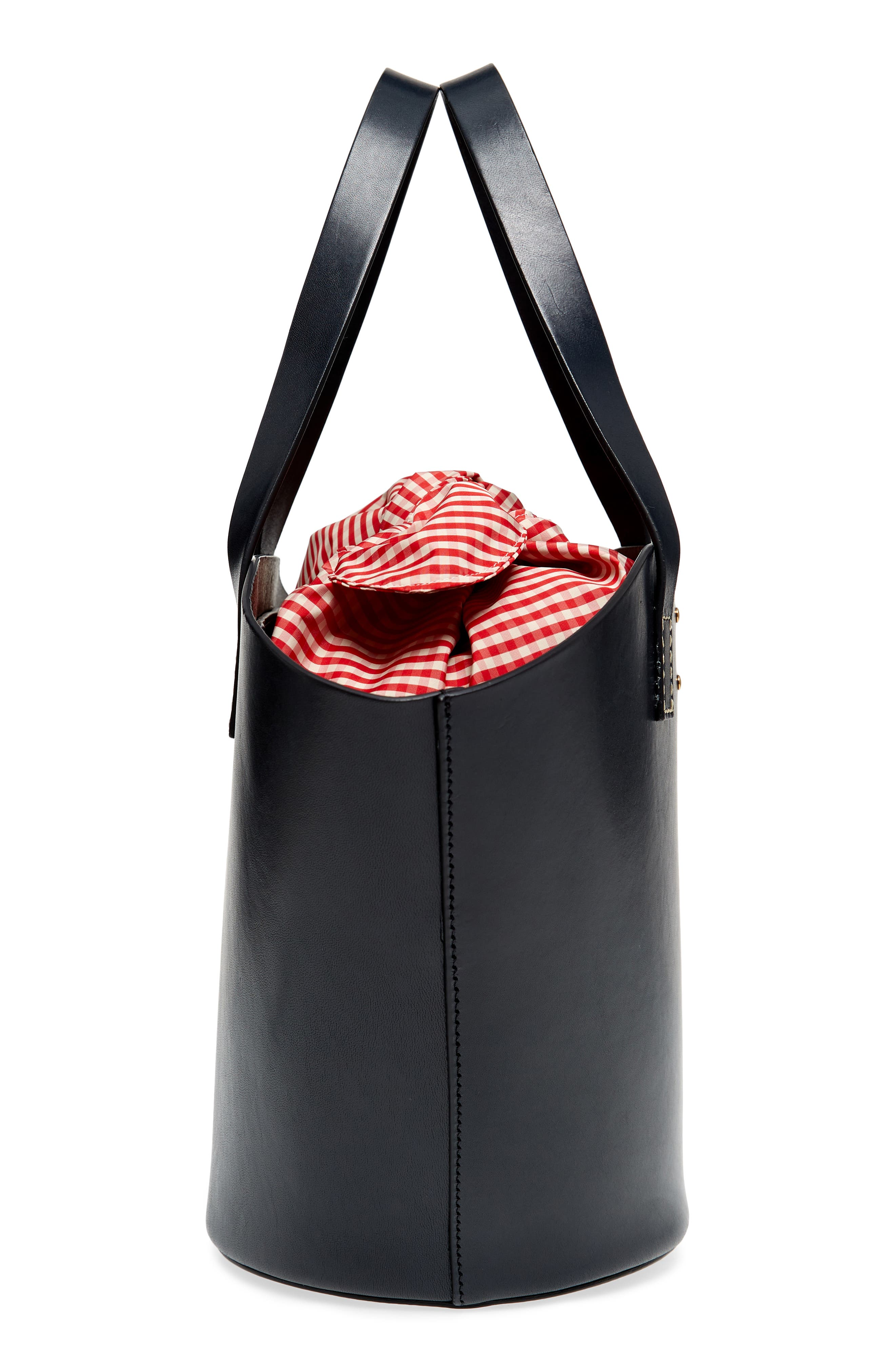 Large Leather Bucket Bag,                             Alternate thumbnail 4, color,                             Dark Navy