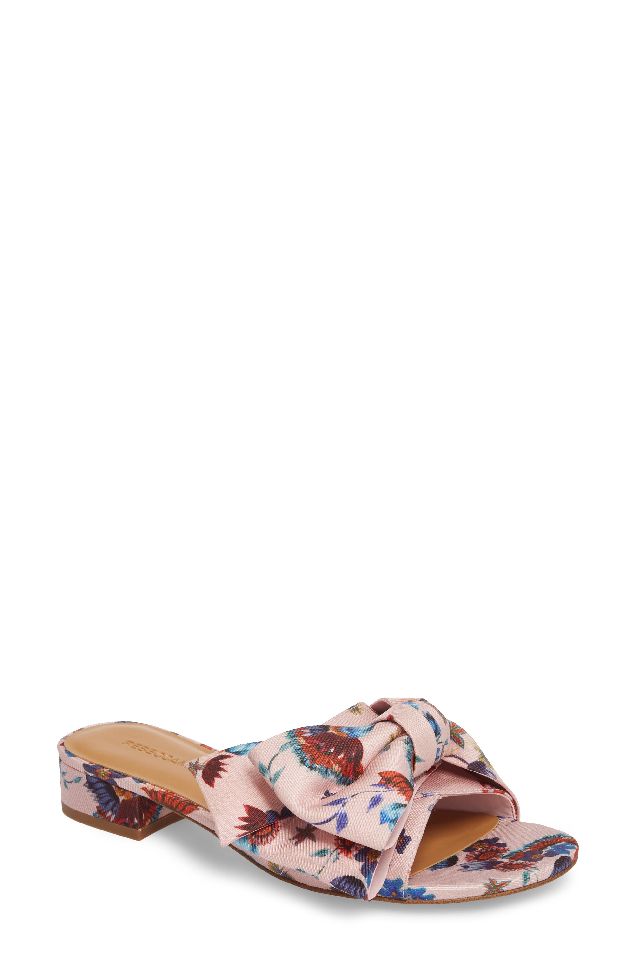 Calista Slide Sandal,                             Main thumbnail 1, color,                             Millennial Pink Multi Fabric