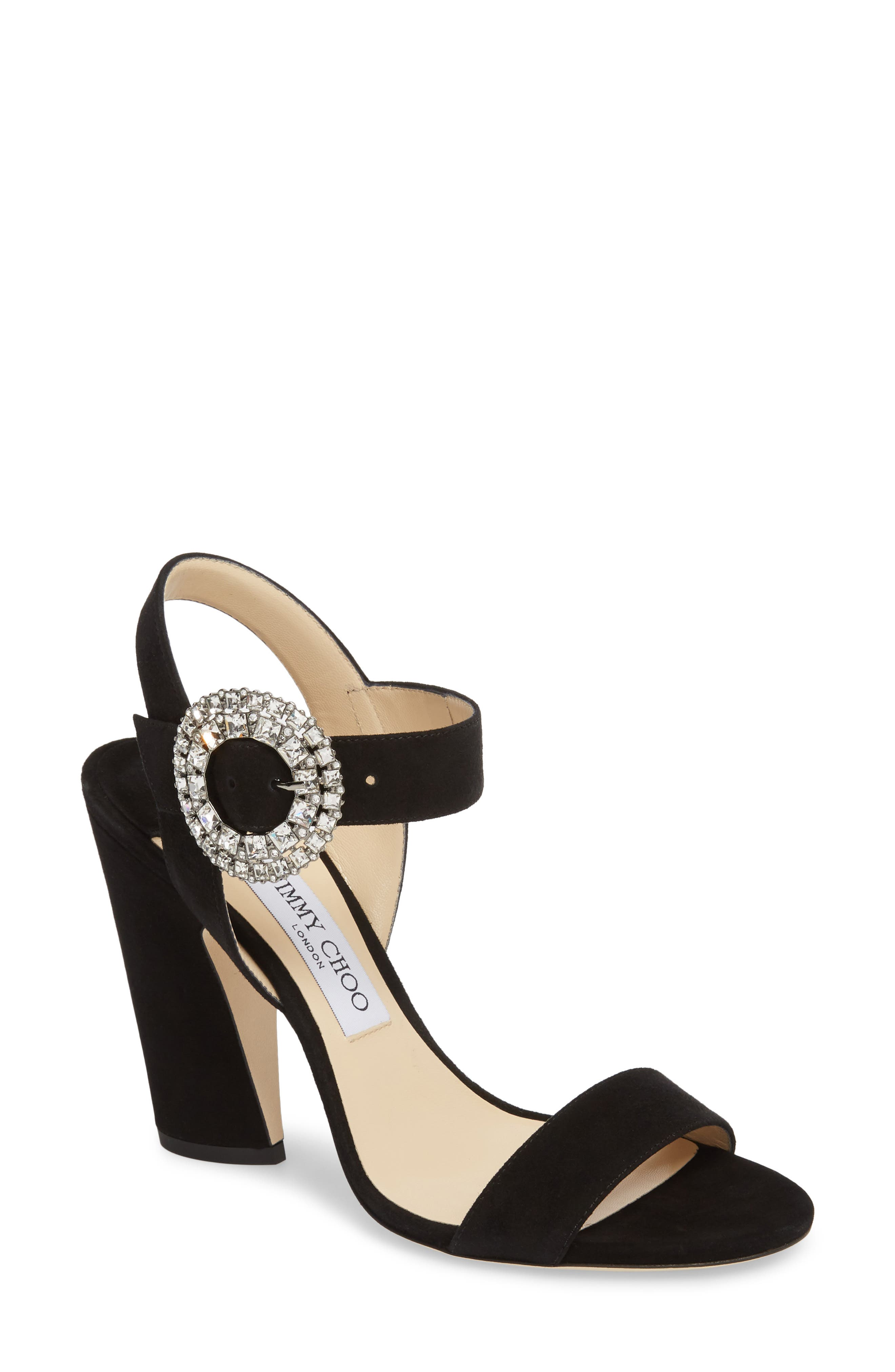 Mischa Crystal Buckle Sandal,                             Main thumbnail 1, color,                             Black