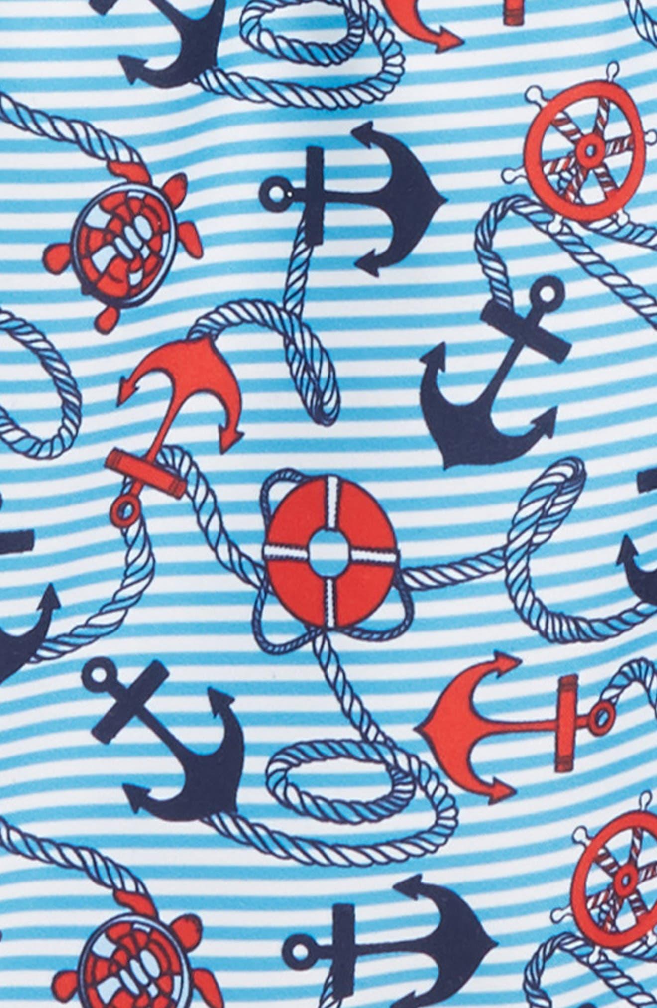 Beachy Nautical Two-Piece Rashguard Swimsuit,                             Alternate thumbnail 2, color,                             Blue Multi