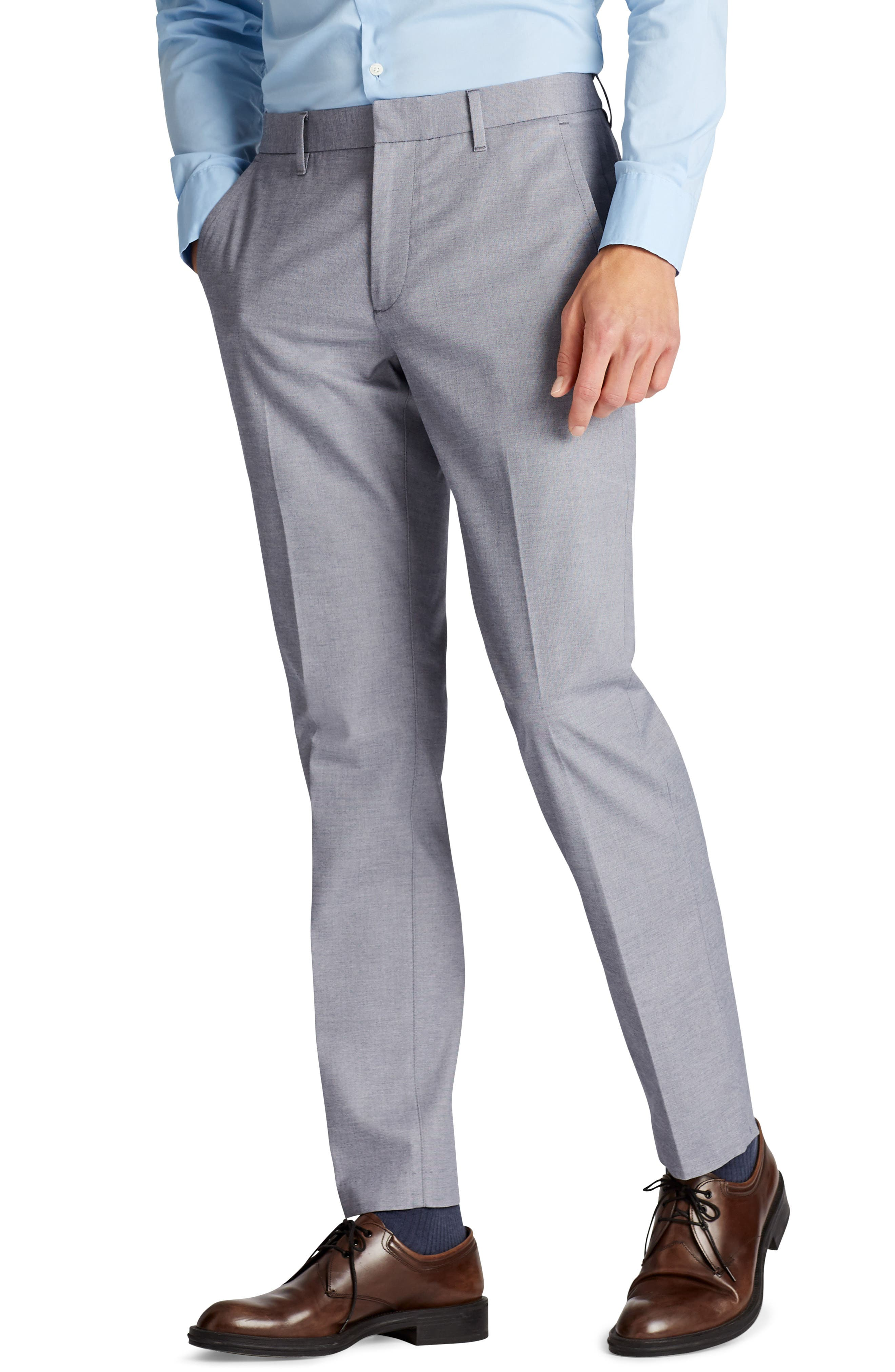 Weekday Warrior Flat Front Stretch Cotton Pants,                             Alternate thumbnail 3, color,                             Navy