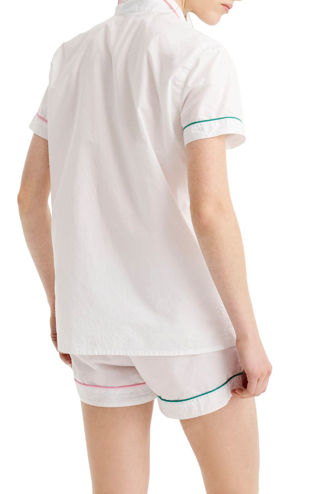 Tipped Short Cotton Pajamas,                             Alternate thumbnail 2, color,                             White Pink Green