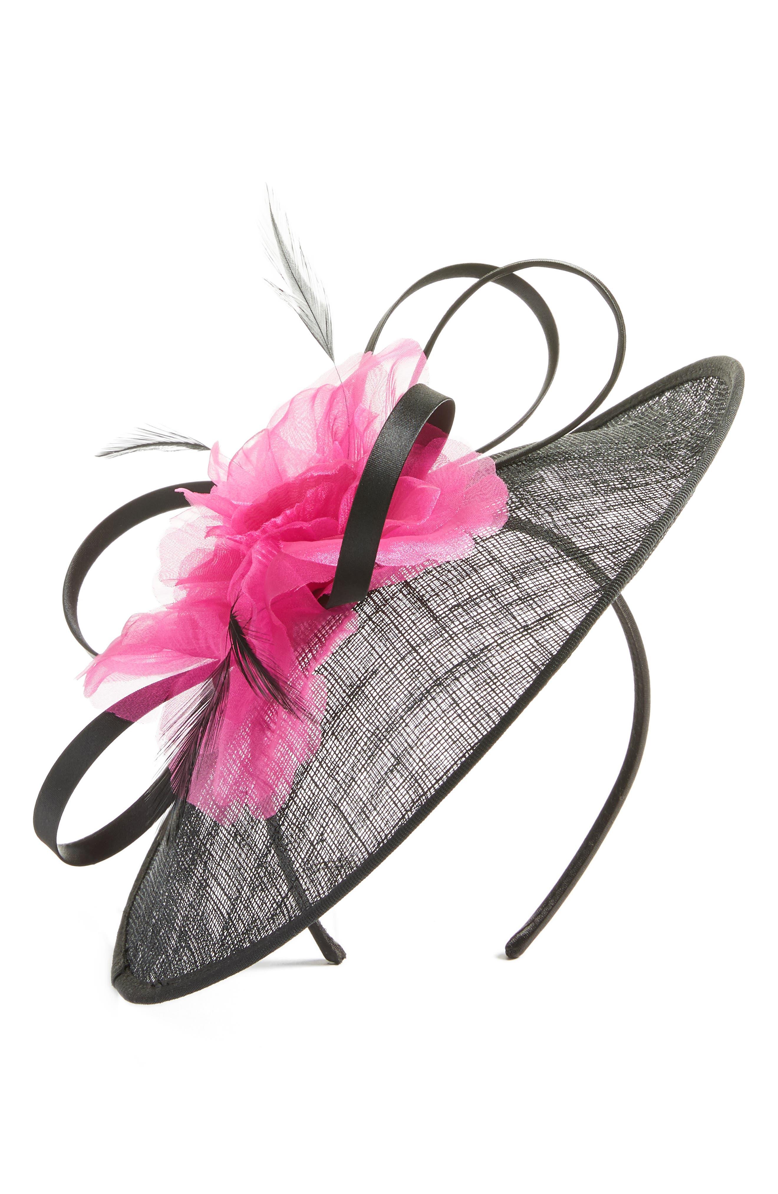 Bow Veil Fascinator Headband,                         Main,                         color, Black