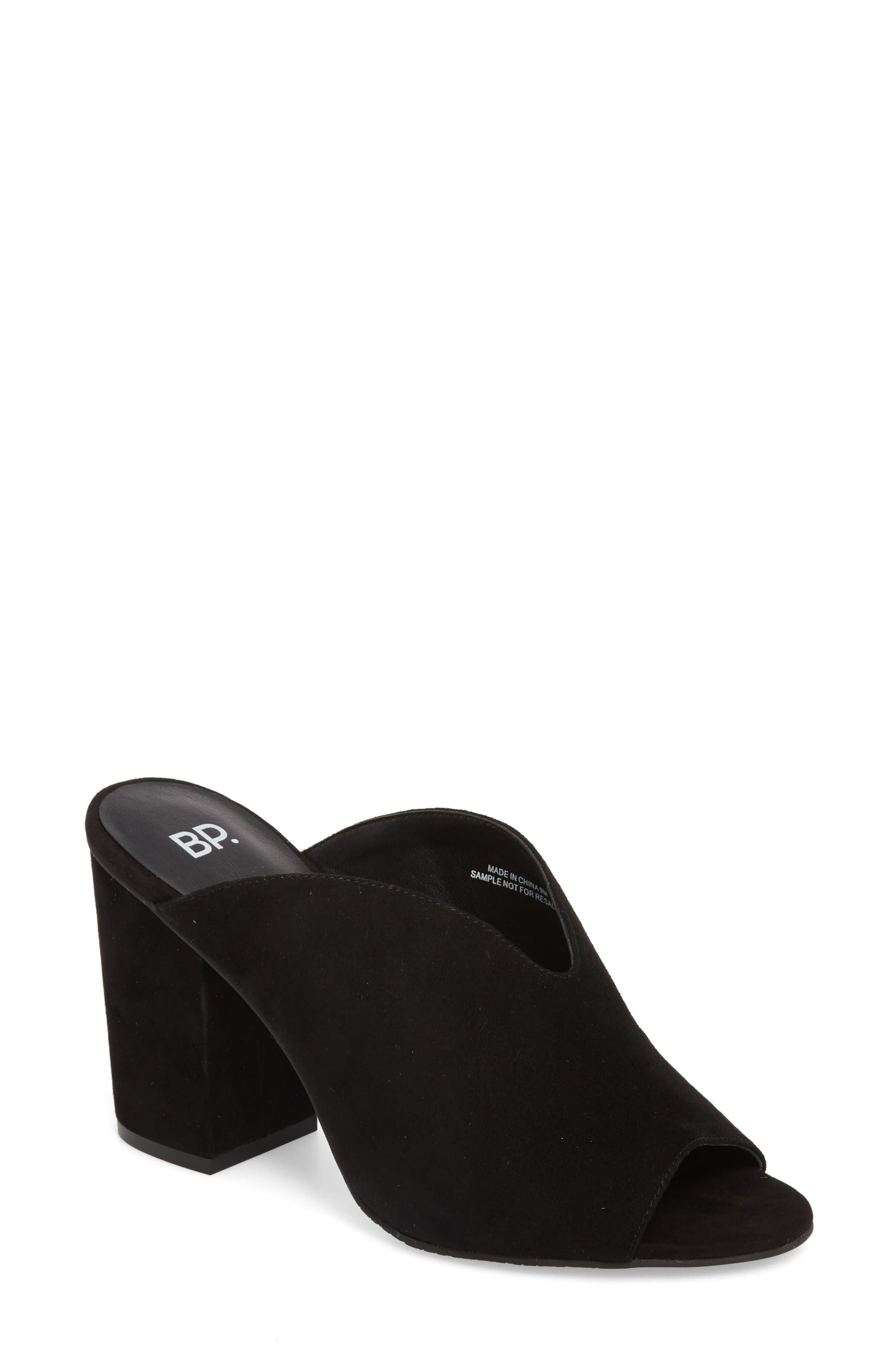 Tonya Open Toe Mule,                         Main,                         color, Black Suede