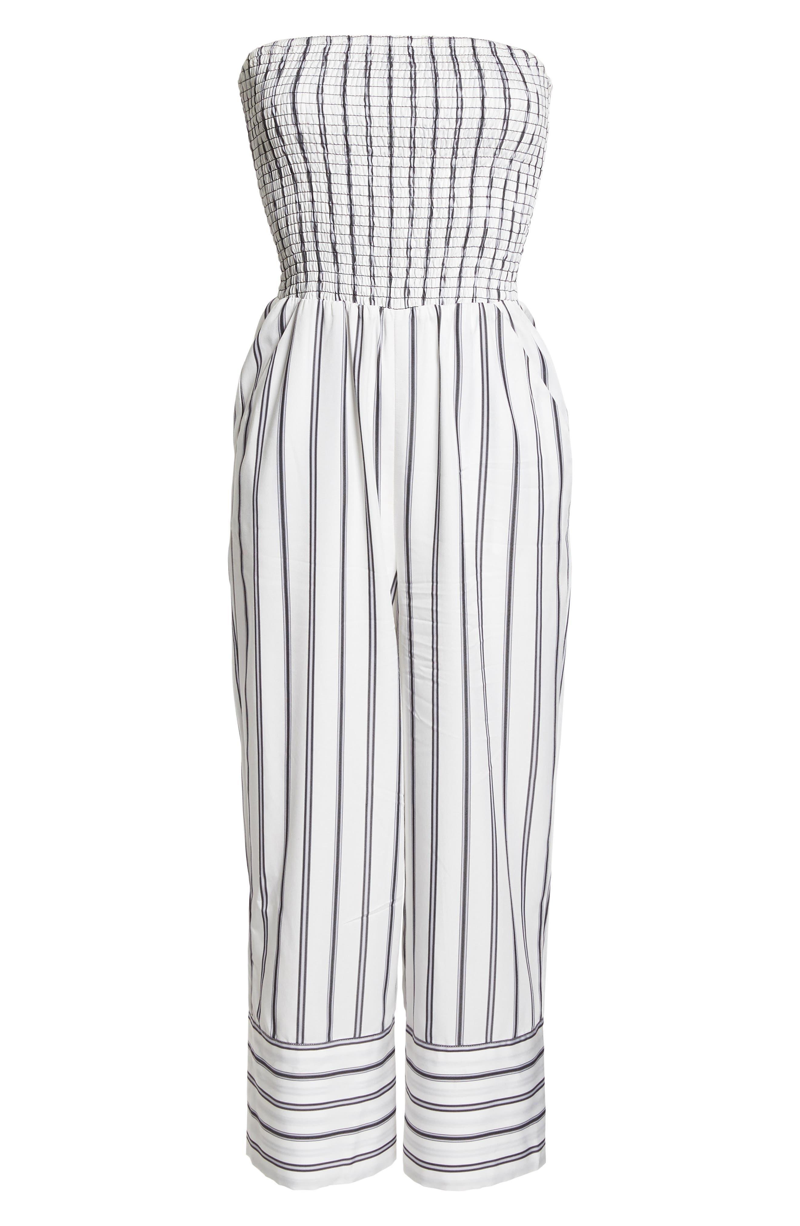 Get in the Grove Stripe Strapless Jumpsuit,                             Alternate thumbnail 7, color,                             Black/ White Uneven Stripe