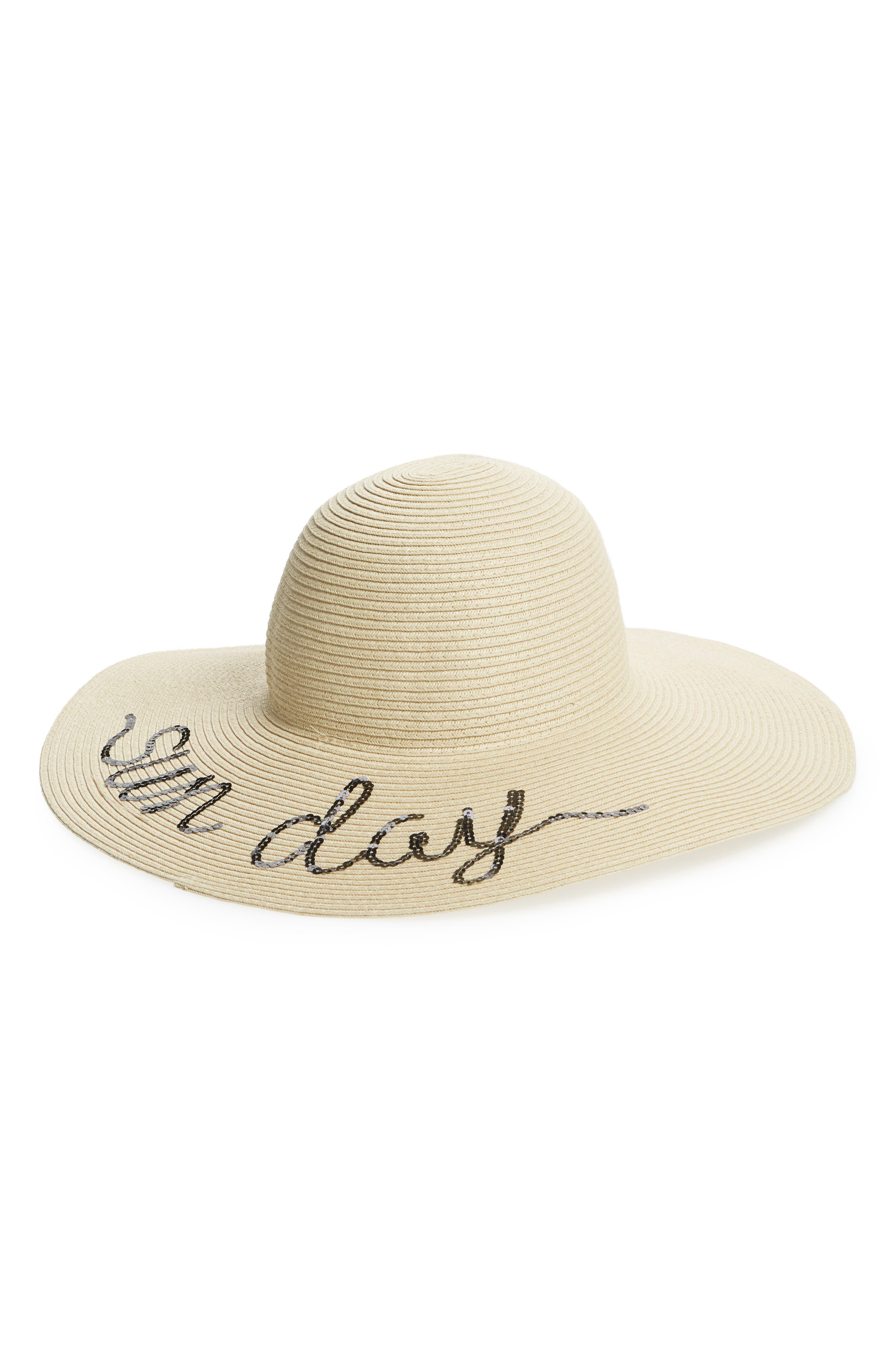 Sole Society Sequin Embroidered Straw Sun Hat
