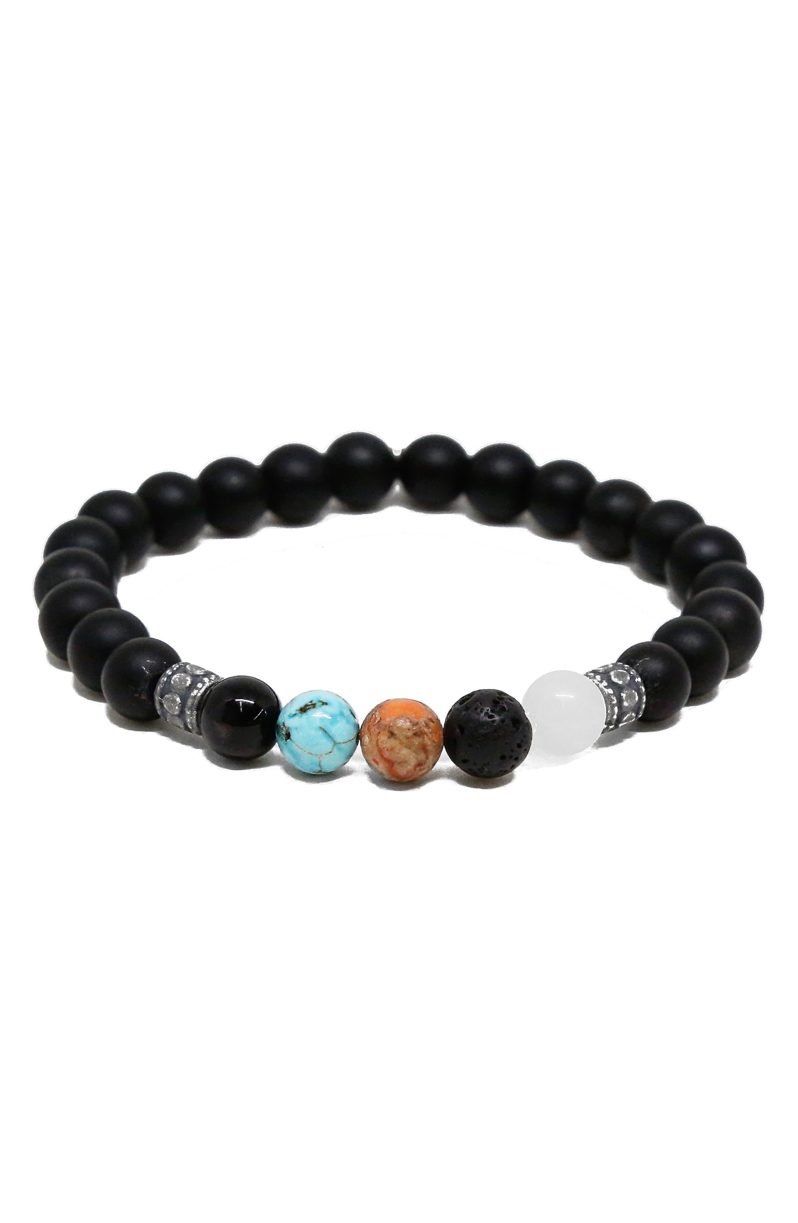 Stone Bead Bracelet,                             Main thumbnail 1, color,                             Black/ Agate