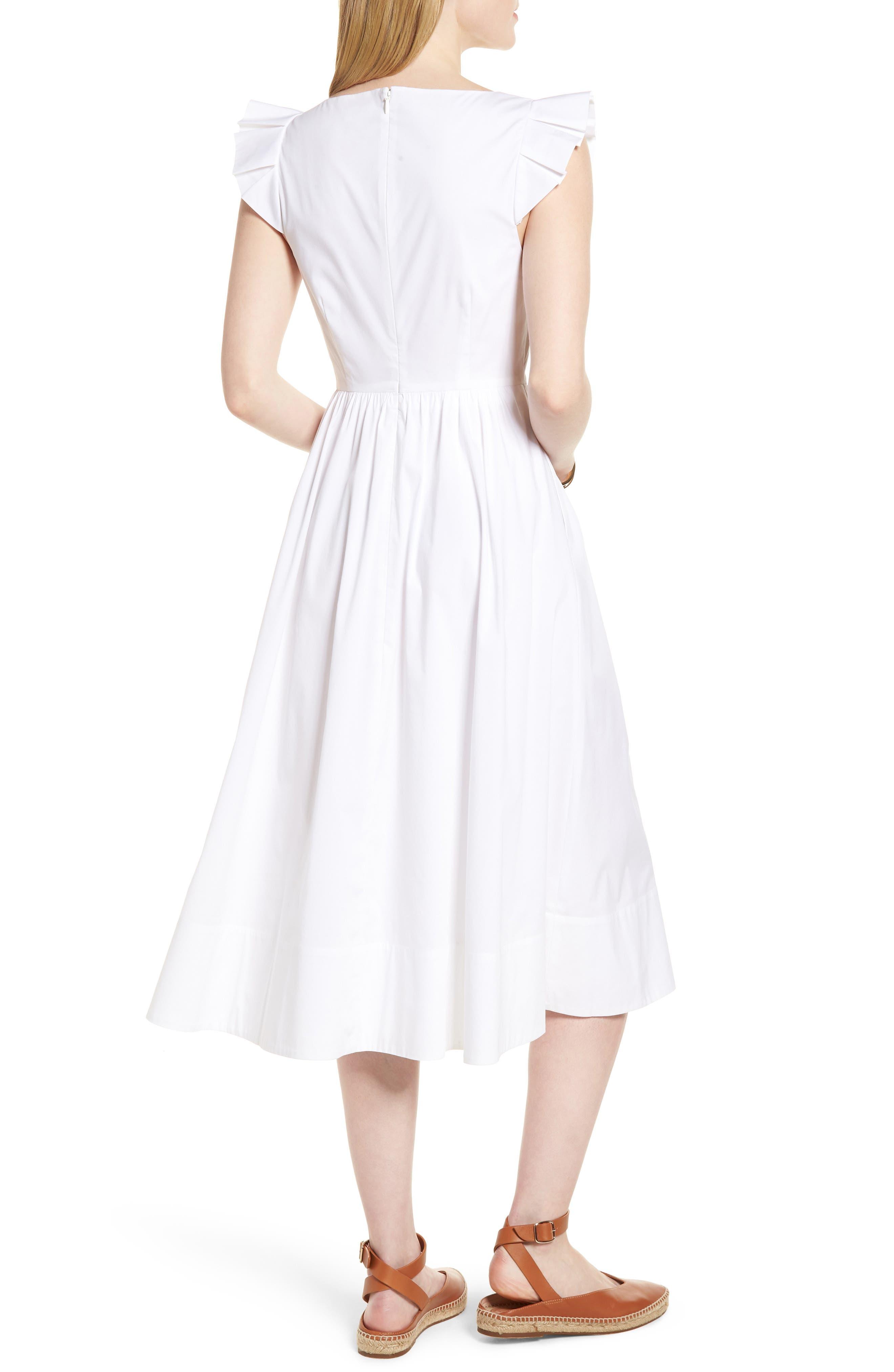 Ruffle Fit & Flare Midi Dress,                             Alternate thumbnail 2, color,                             White