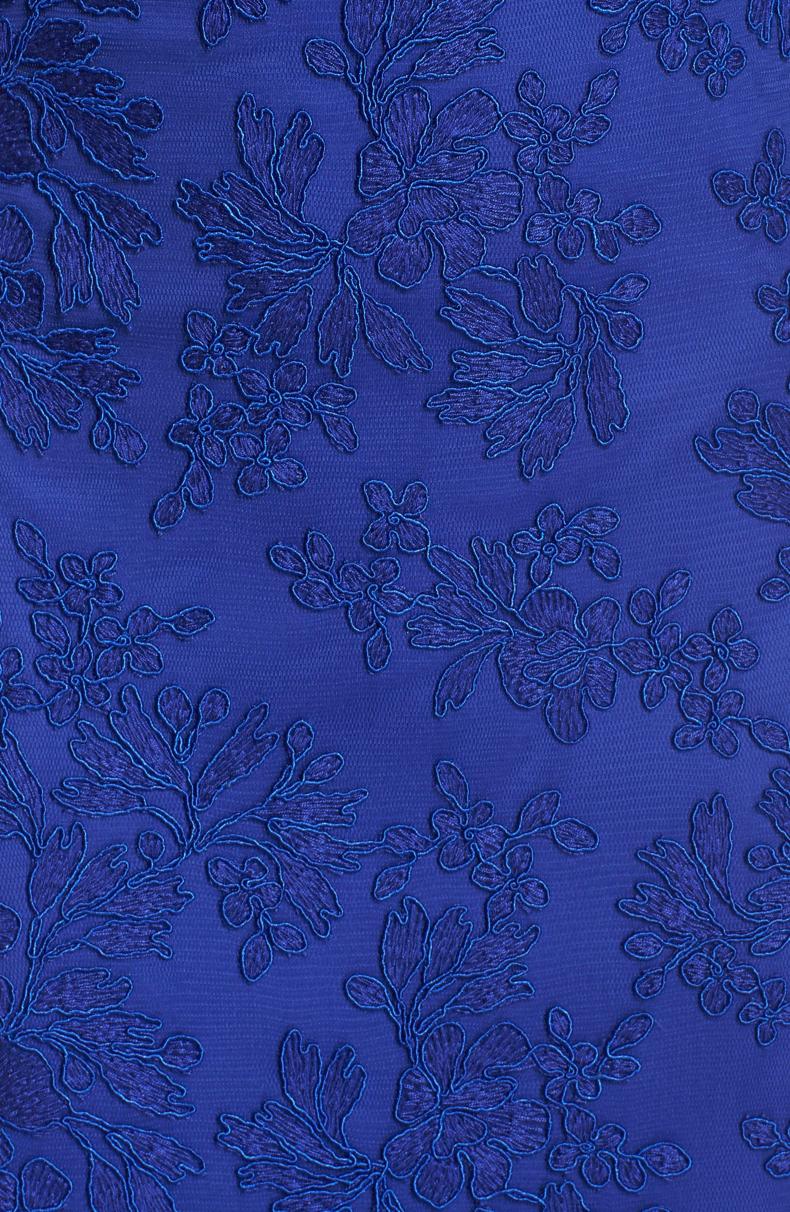 Off the Shoulder Lace Gown,                             Alternate thumbnail 5, color,                             Royal Iris