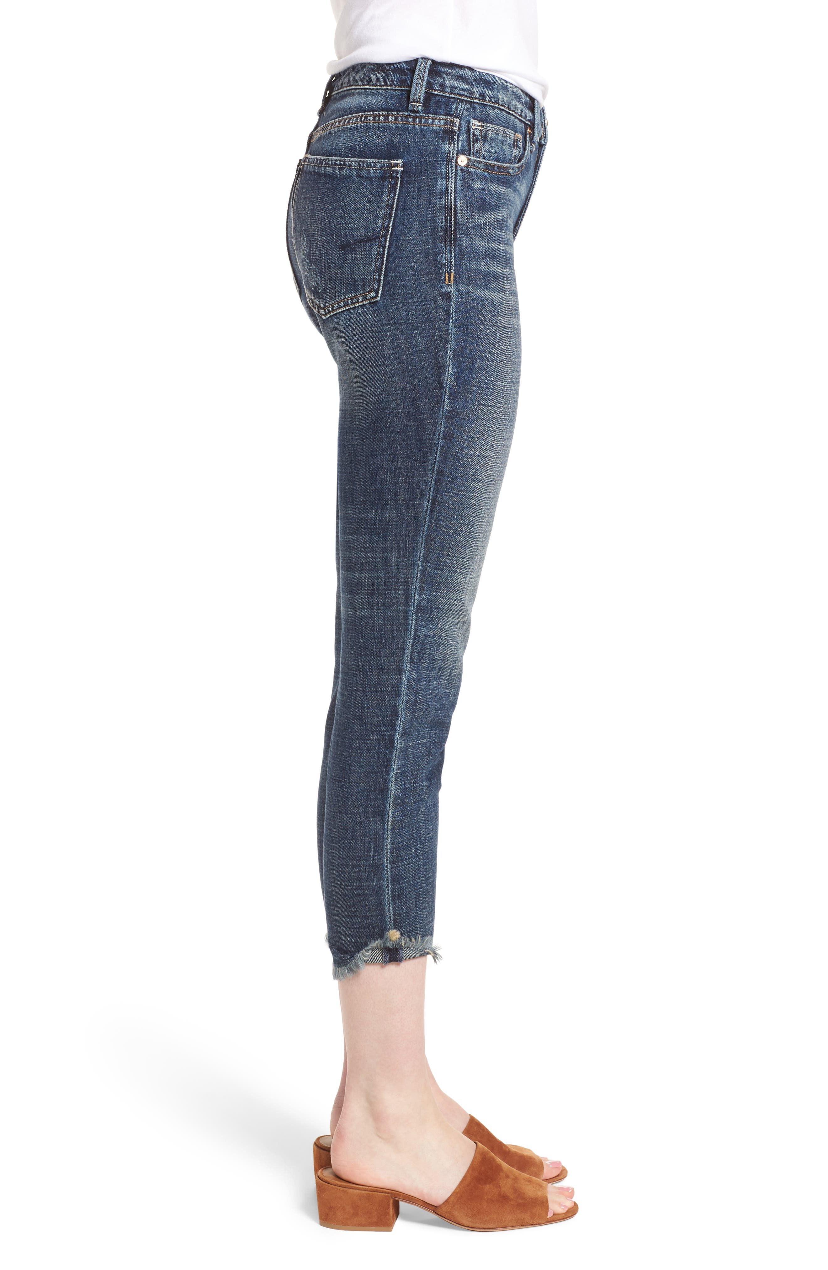 Vale Slant Fray Hem Jeans,                             Alternate thumbnail 3, color,                             Balsam