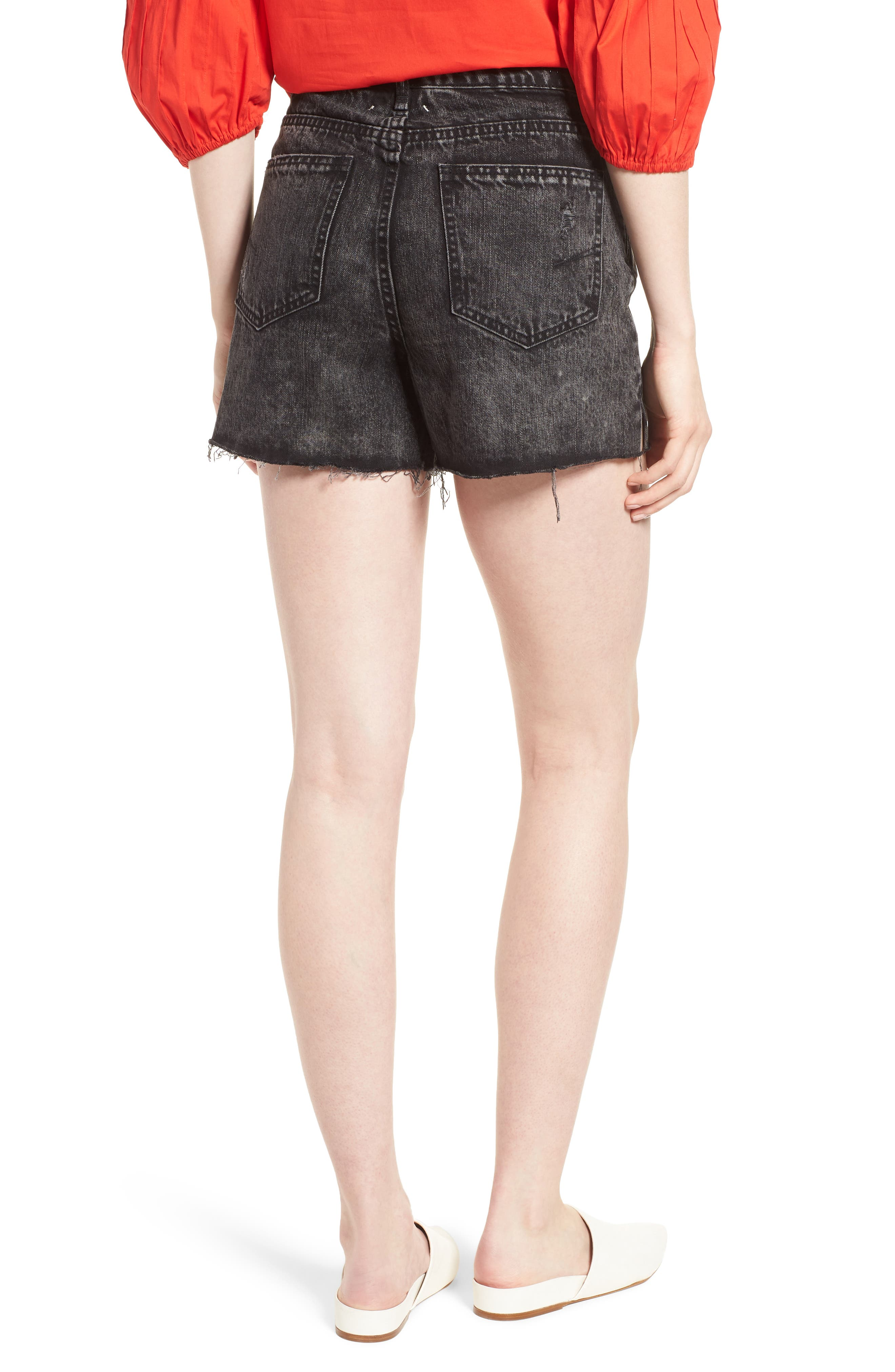 Maddie High Rise Raw Edge Denim Shorts,                             Alternate thumbnail 2, color,                             Obsidian