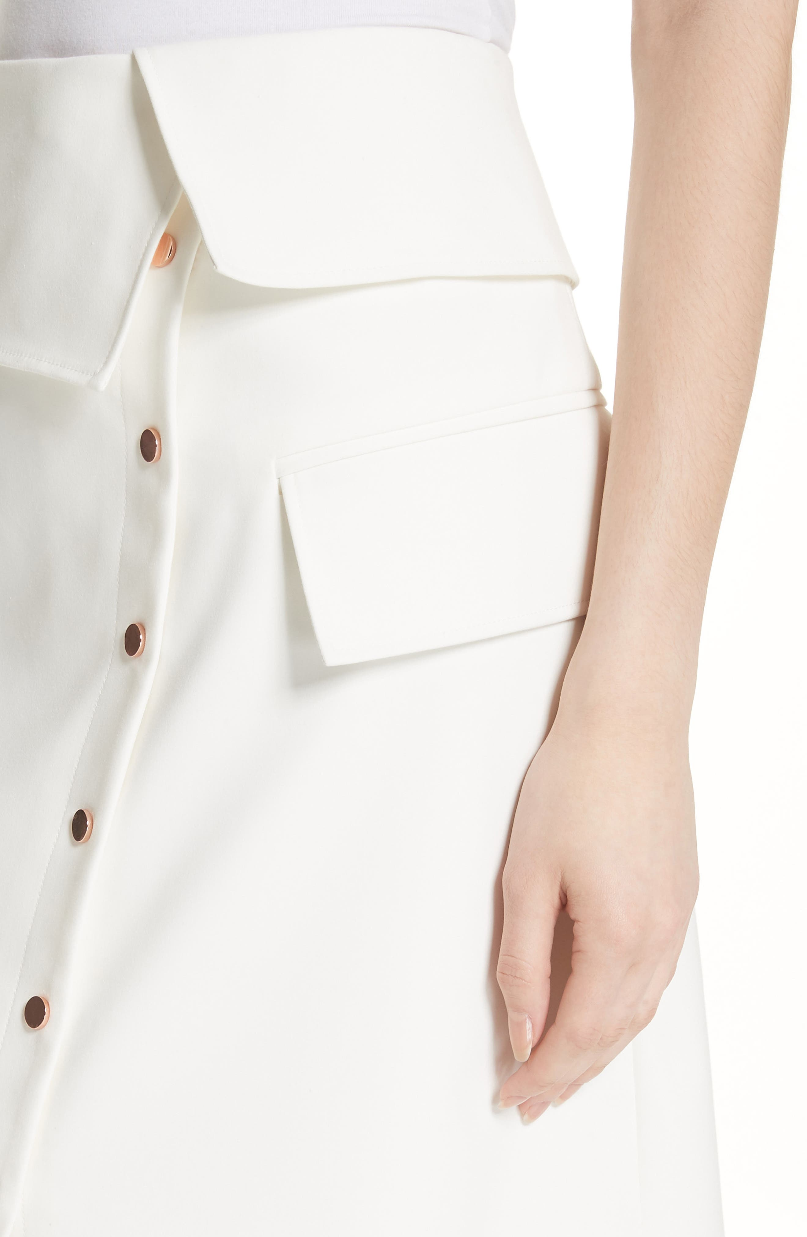 Flap Detail Urban Stretch Skirt,                             Alternate thumbnail 4, color,                             Ivory