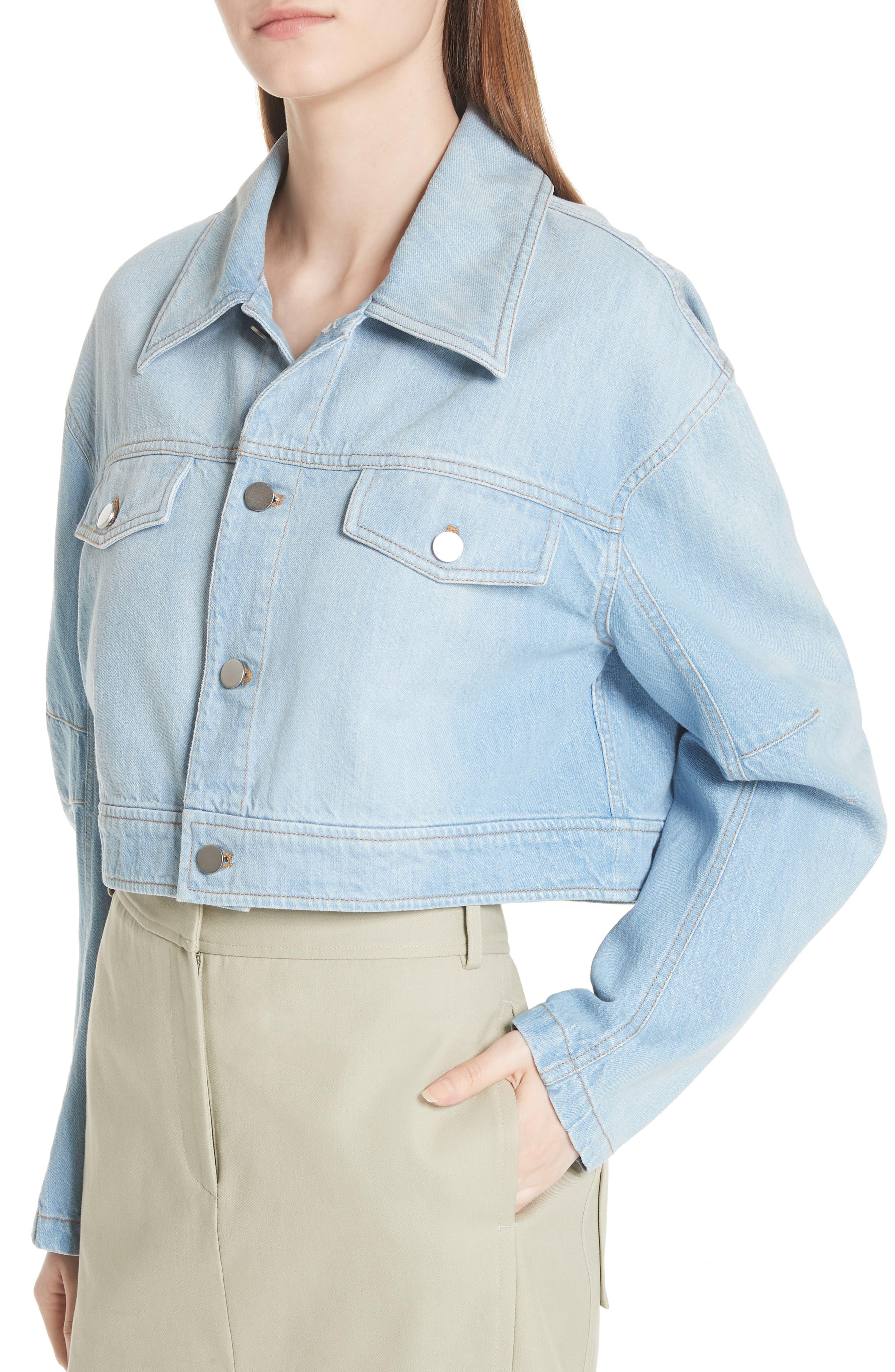Crop Denim Jacket,                             Alternate thumbnail 4, color,                             Vintage Stone Wash