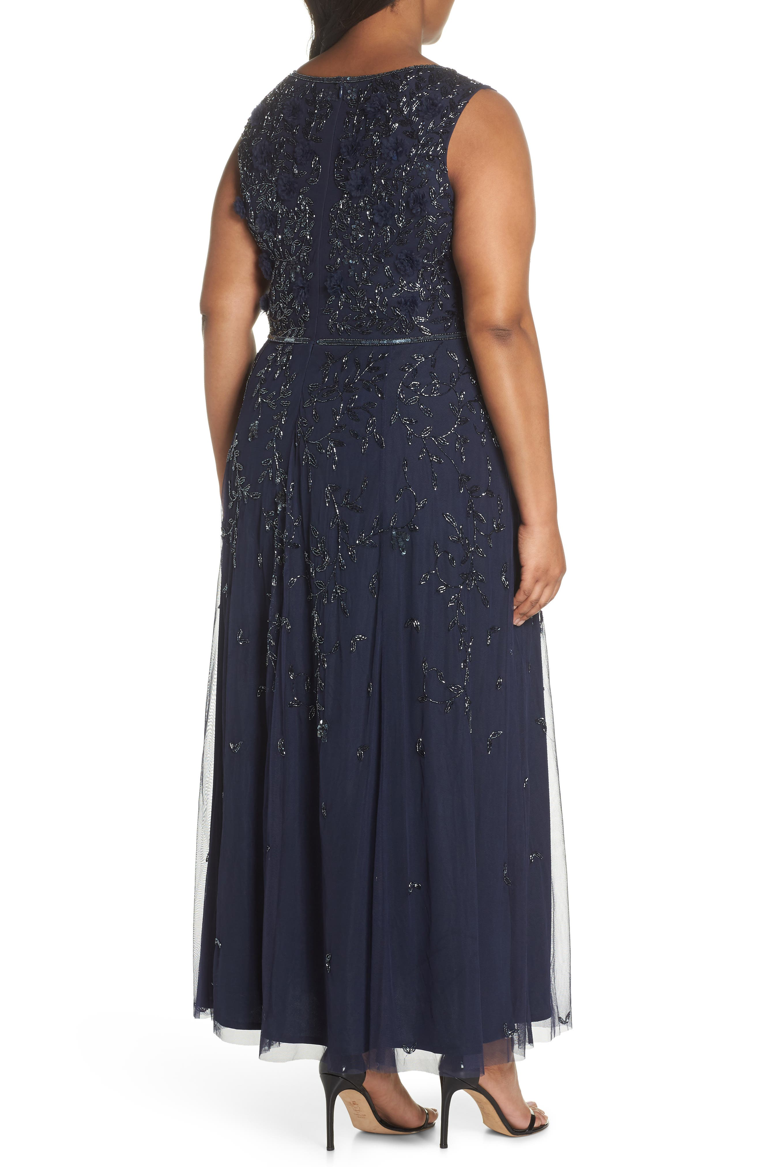 3D Embellished Mesh A-Line Gown,                             Alternate thumbnail 2, color,                             Navy