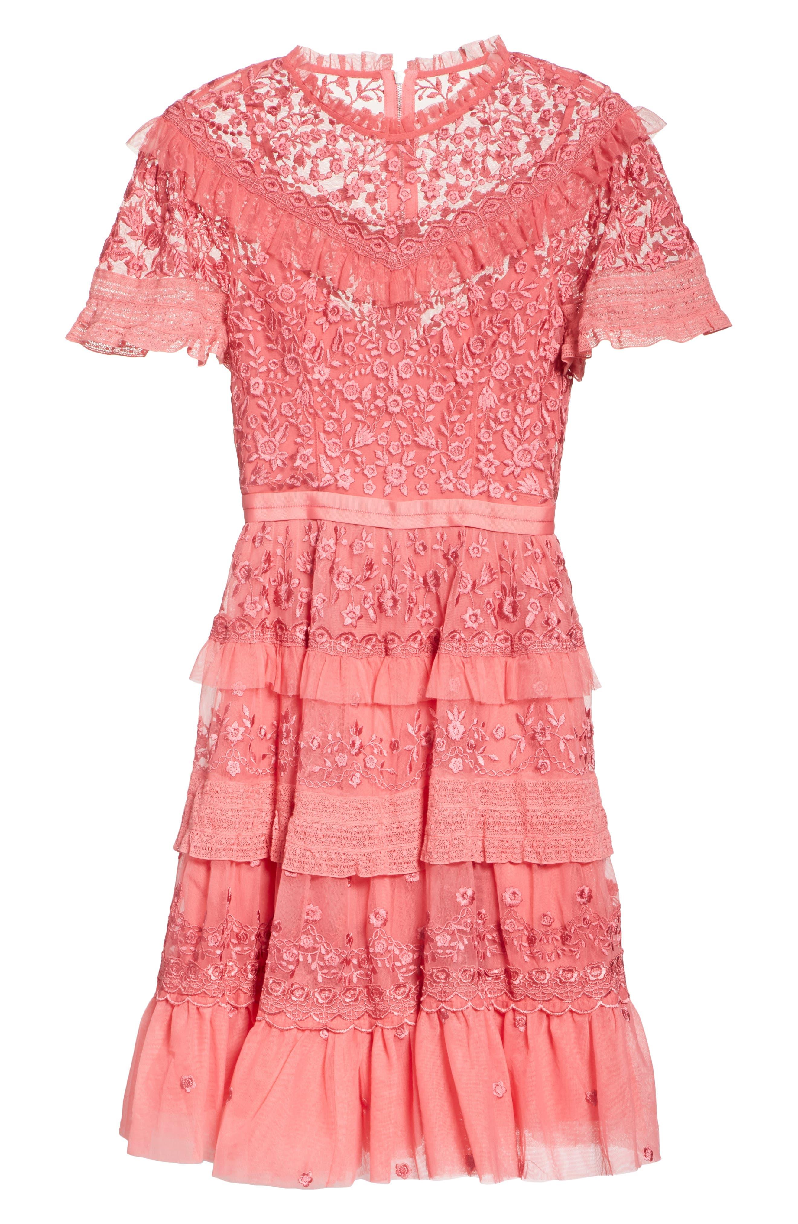 Iris Fit & Flare Dress,                             Alternate thumbnail 6, color,                             Hot Pink